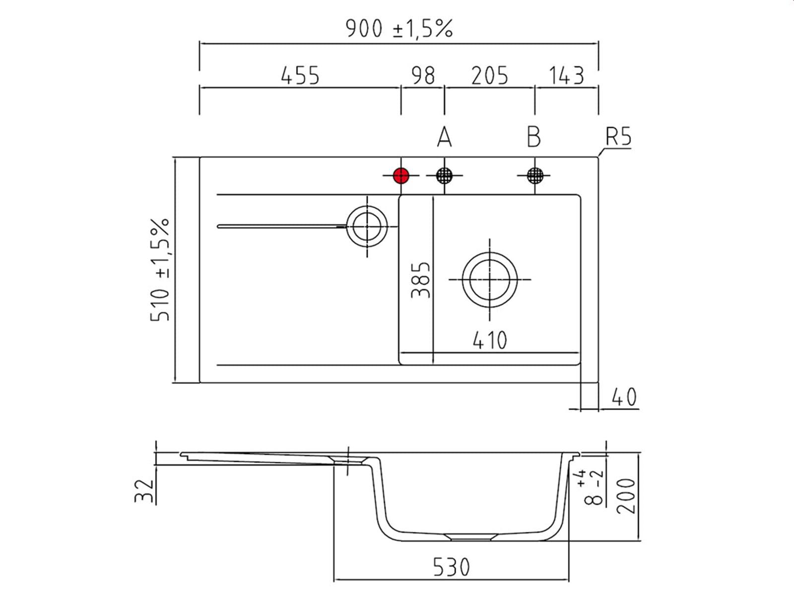 Systemceram Stema 90 Nigra Keramikspüle Handbetätigung - B-Ware