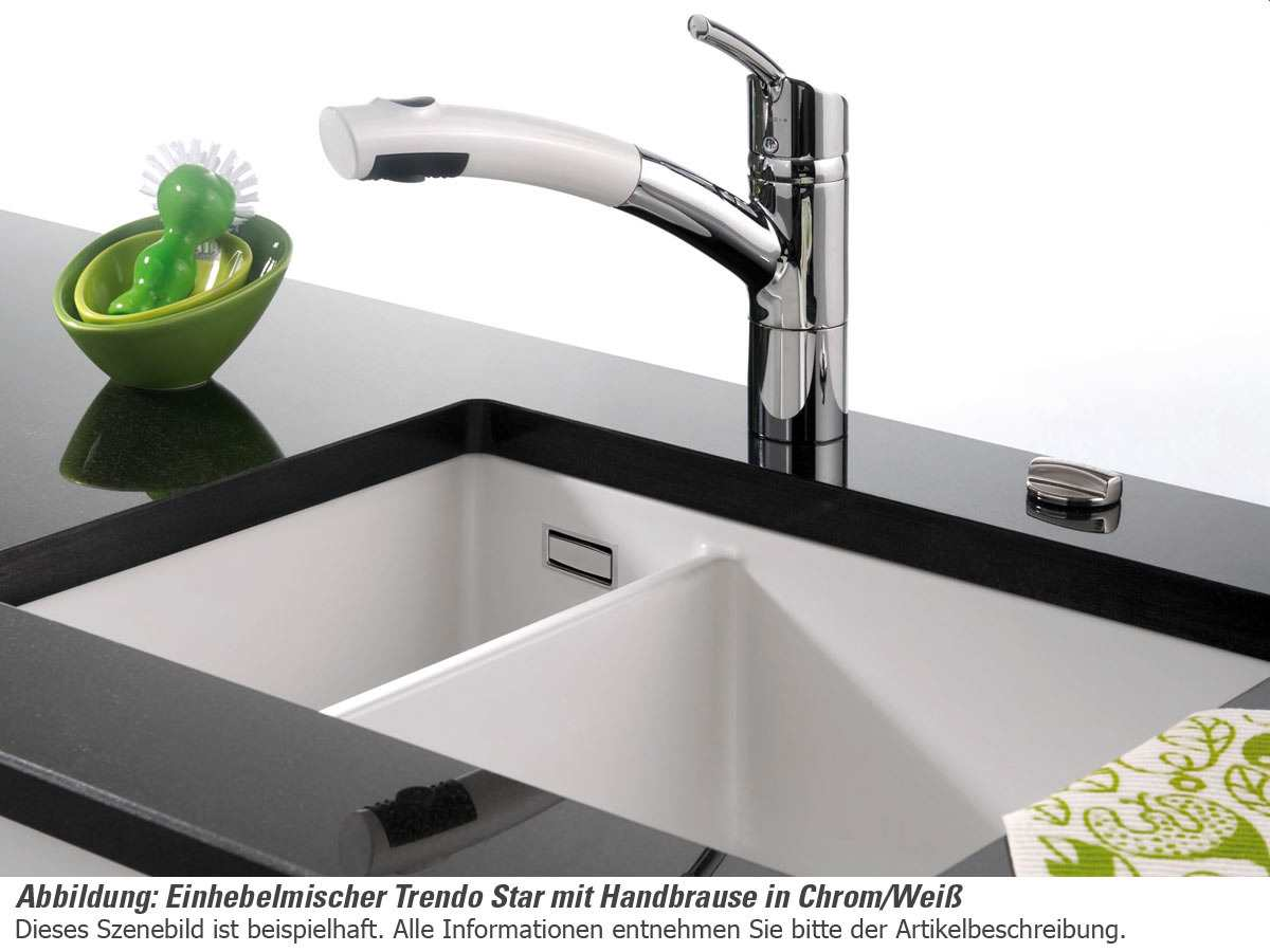 Systemceram Trendo Star Chrom/Schwarz Hochdruckarmatur