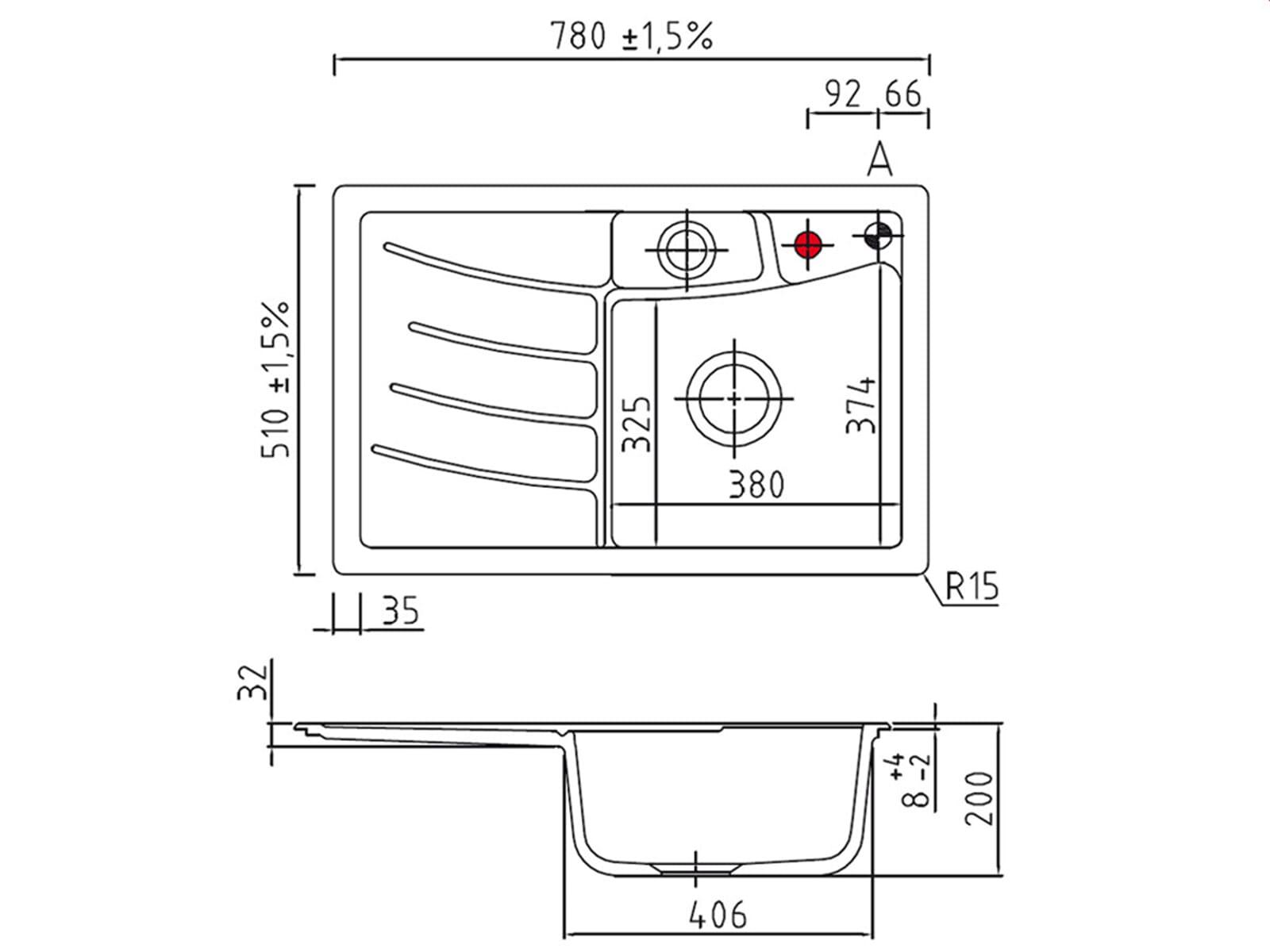 Systemceram Vega 78 Satin Keramikspüle Handbetätigung
