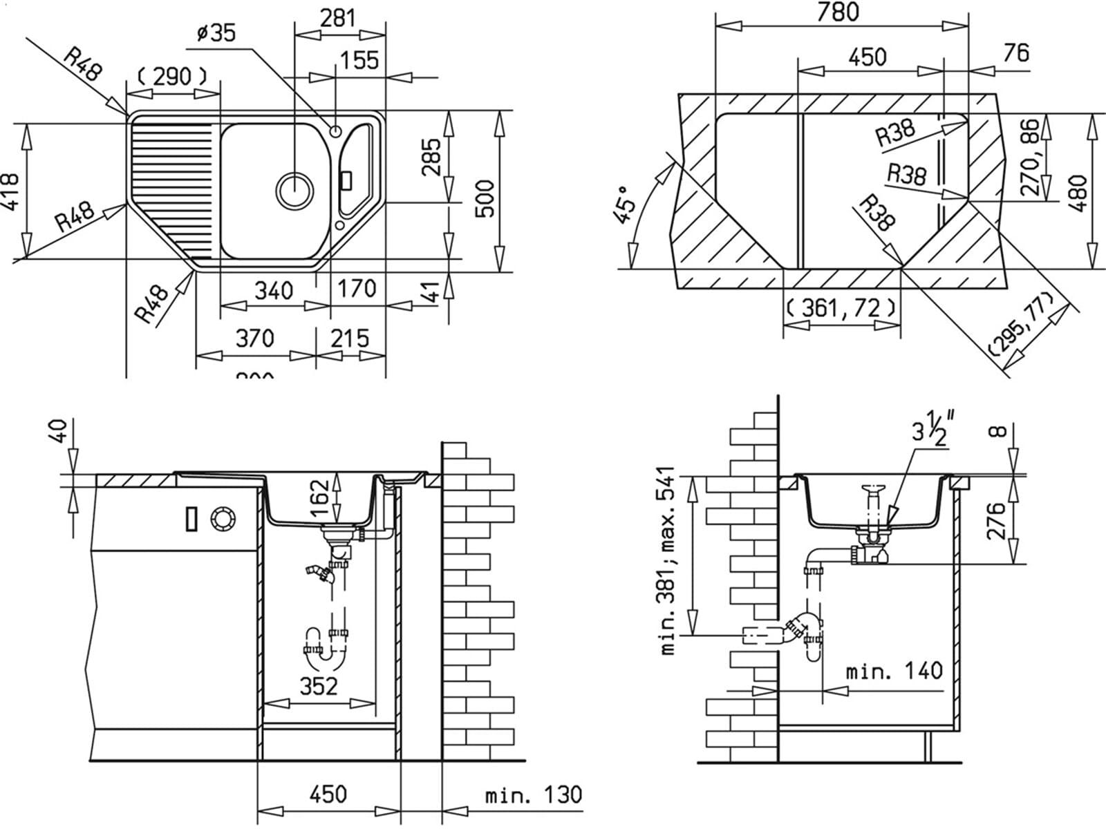 Teka Texina 45 E-TG Alugraumetallic Granitspüle