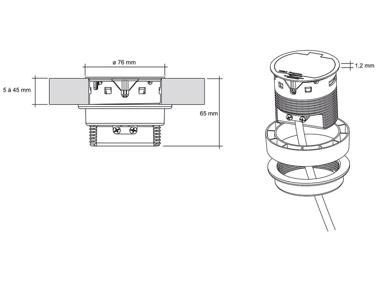 Thebo ST 17 - 17177 Einbau Tischsteckdose Aluminium