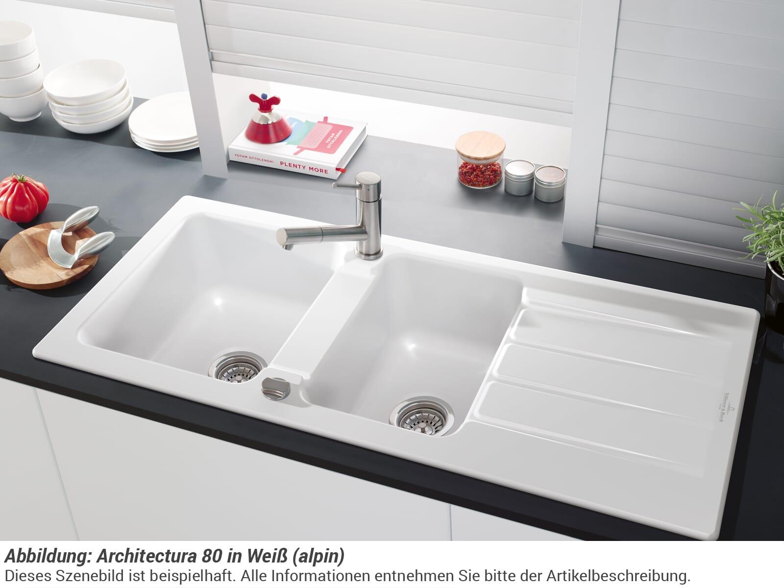 Villeroy & Boch Architectura 80 3380 02 AM Almond Keramikspüle Exzenterbetätigung