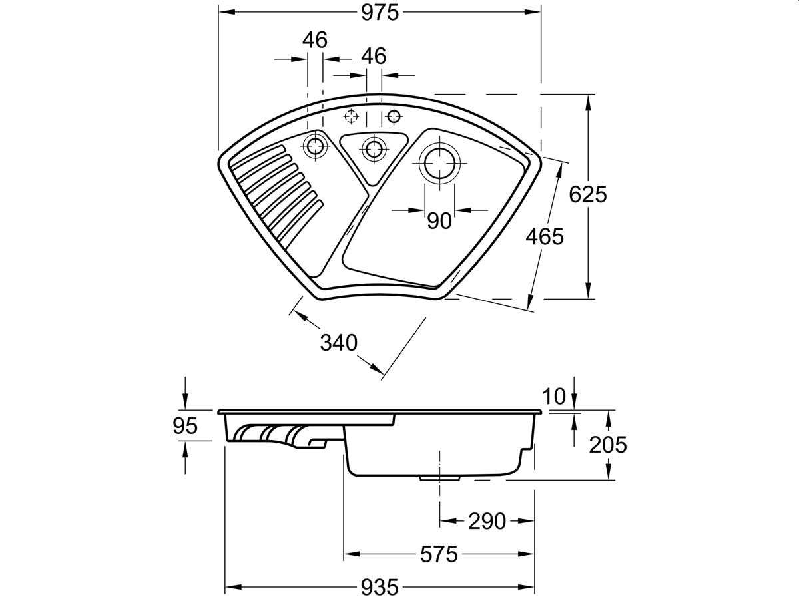 Villeroy & Boch Arena Eck Ebony - 6729 02 S5 Keramikspüle Exzenterbetätigung