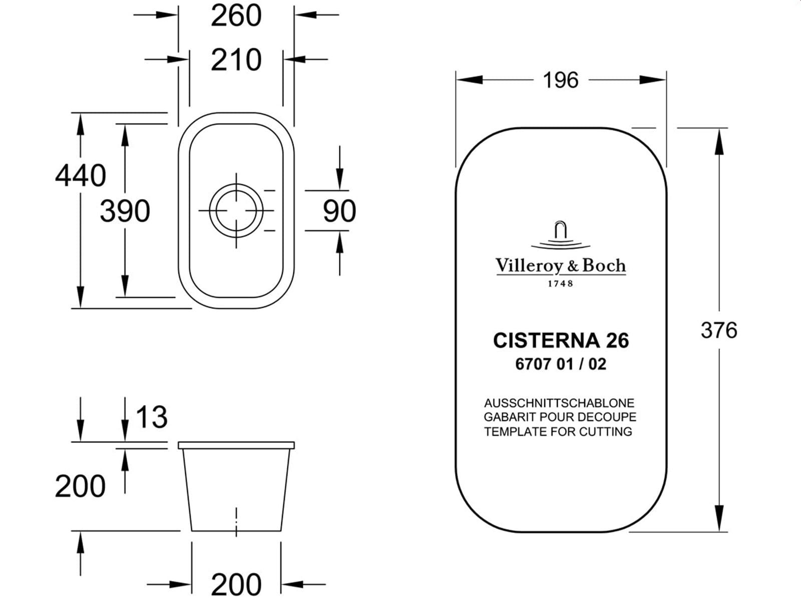 Villeroy & Boch Cisterna 26 Edelweiss - 6707 01 S3 Keramikspüle Handbetätigung