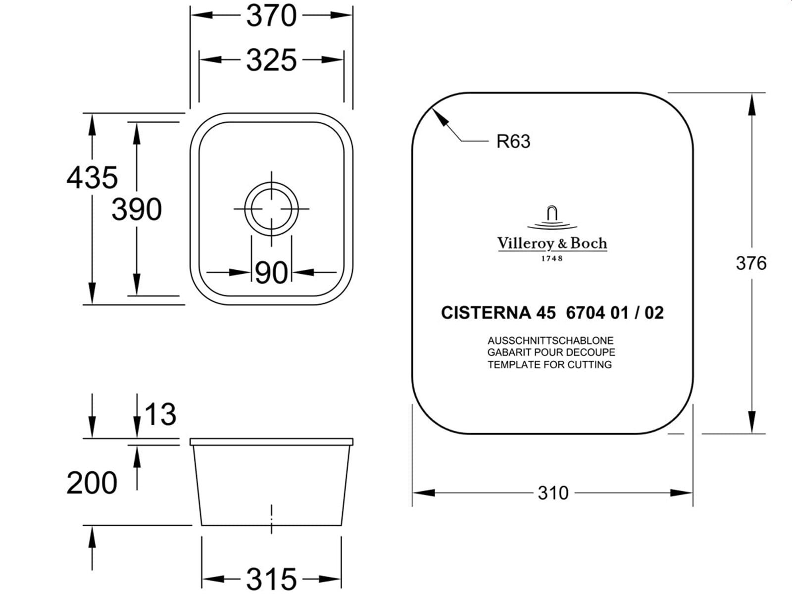 Villeroy & Boch Cisterna 45 Weiß (alpin) - 6704 02 R1 Keramikspüle Exzenterbetätigung