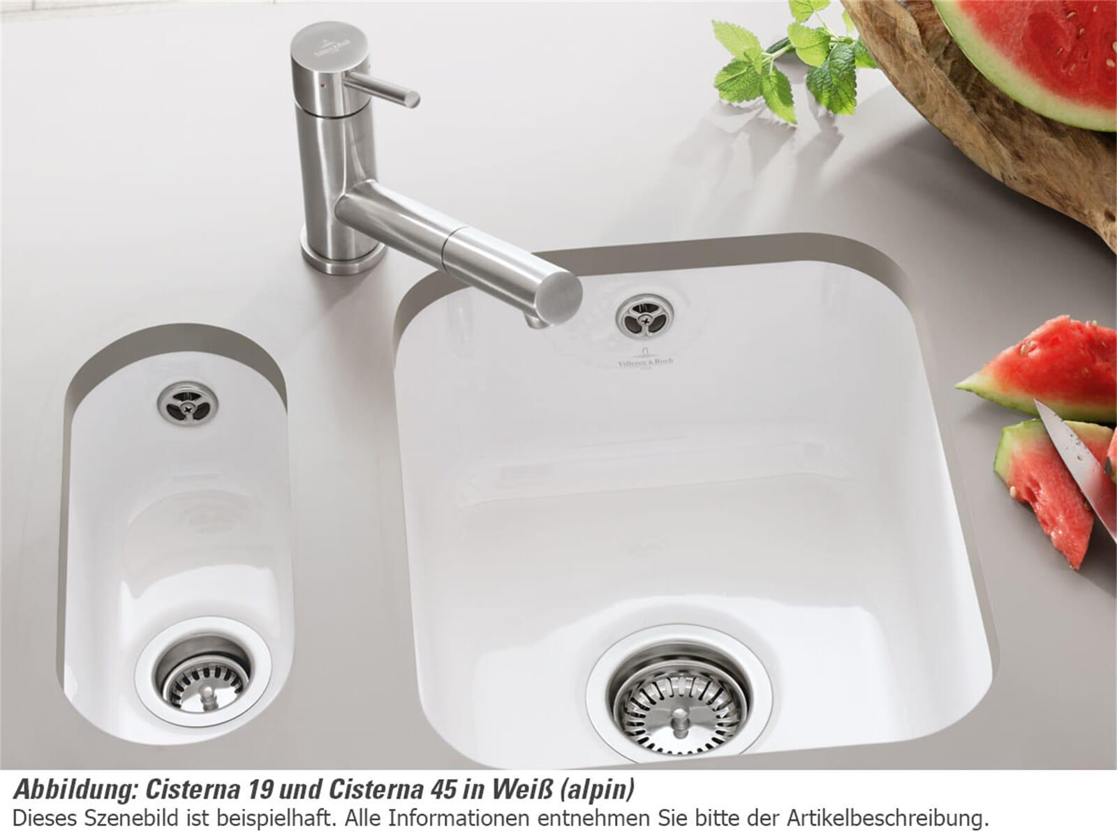 Villeroy & Boch Cisterna 45 Almond - 6704 02 AM Keramikspüle Exzenterbetätigung