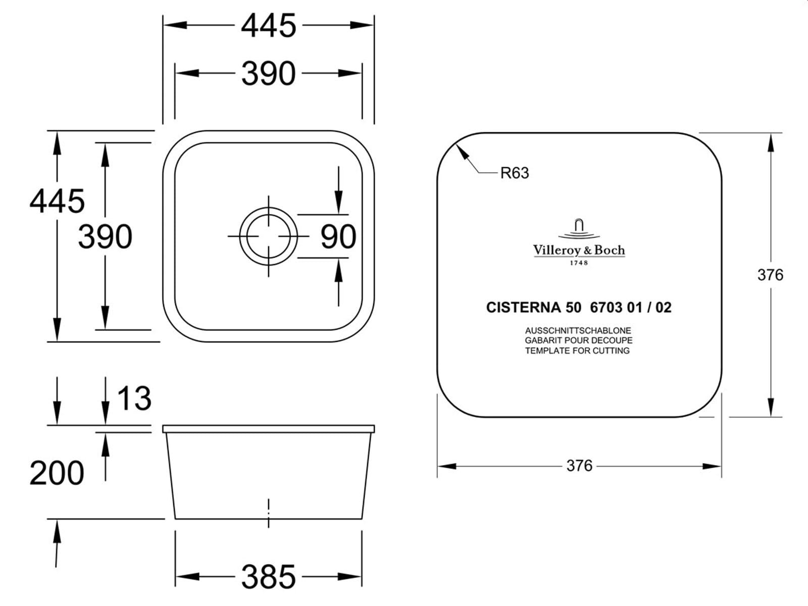 Villeroy & Boch Cisterna 50 Chromit - 6703 02 J0 Keramikspüle Exzenterbetätigung