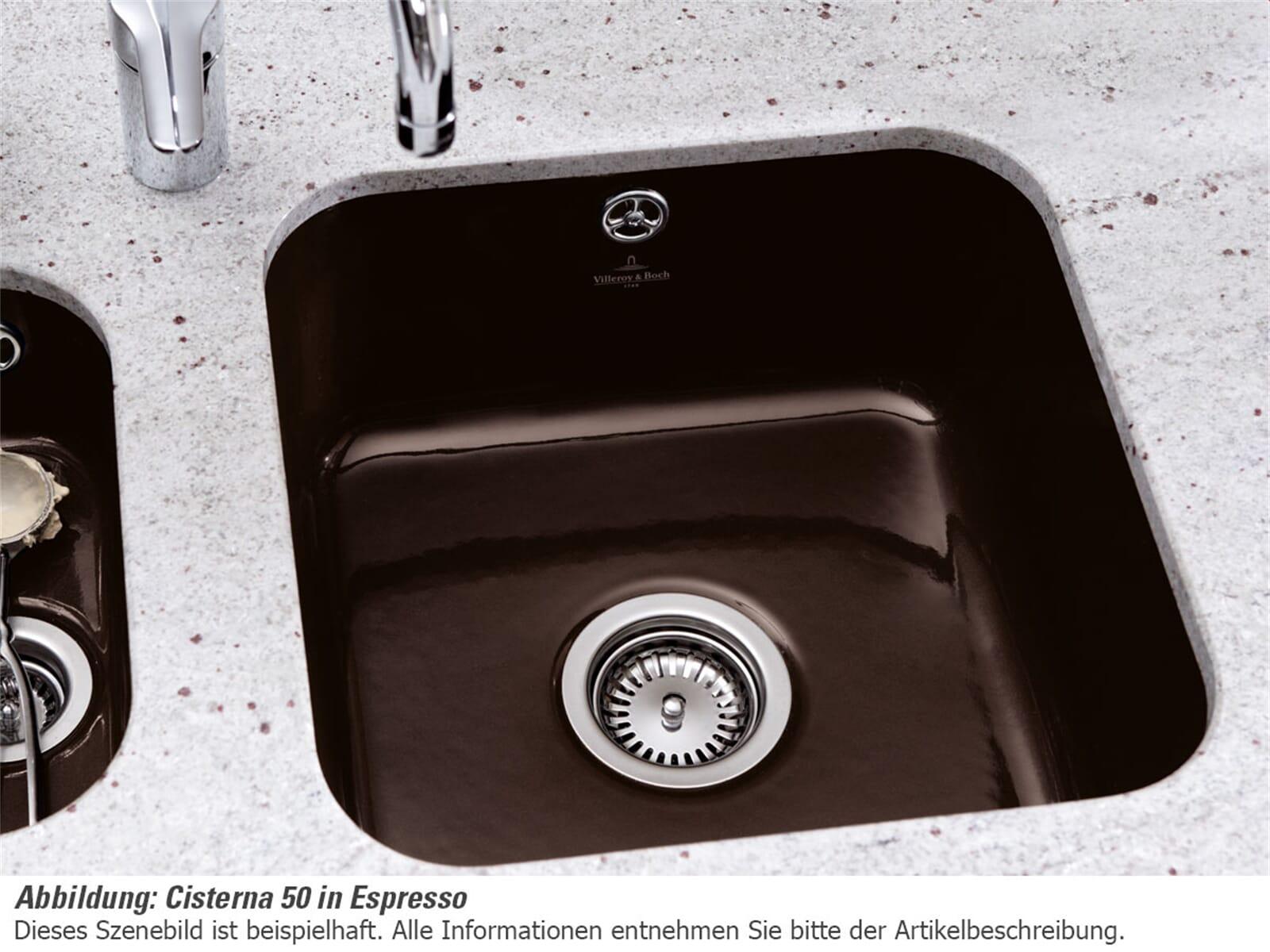 Villeroy & Boch Cisterna 50 Stone - 6703 02 SL Keramikspüle Exzenterbetätigung