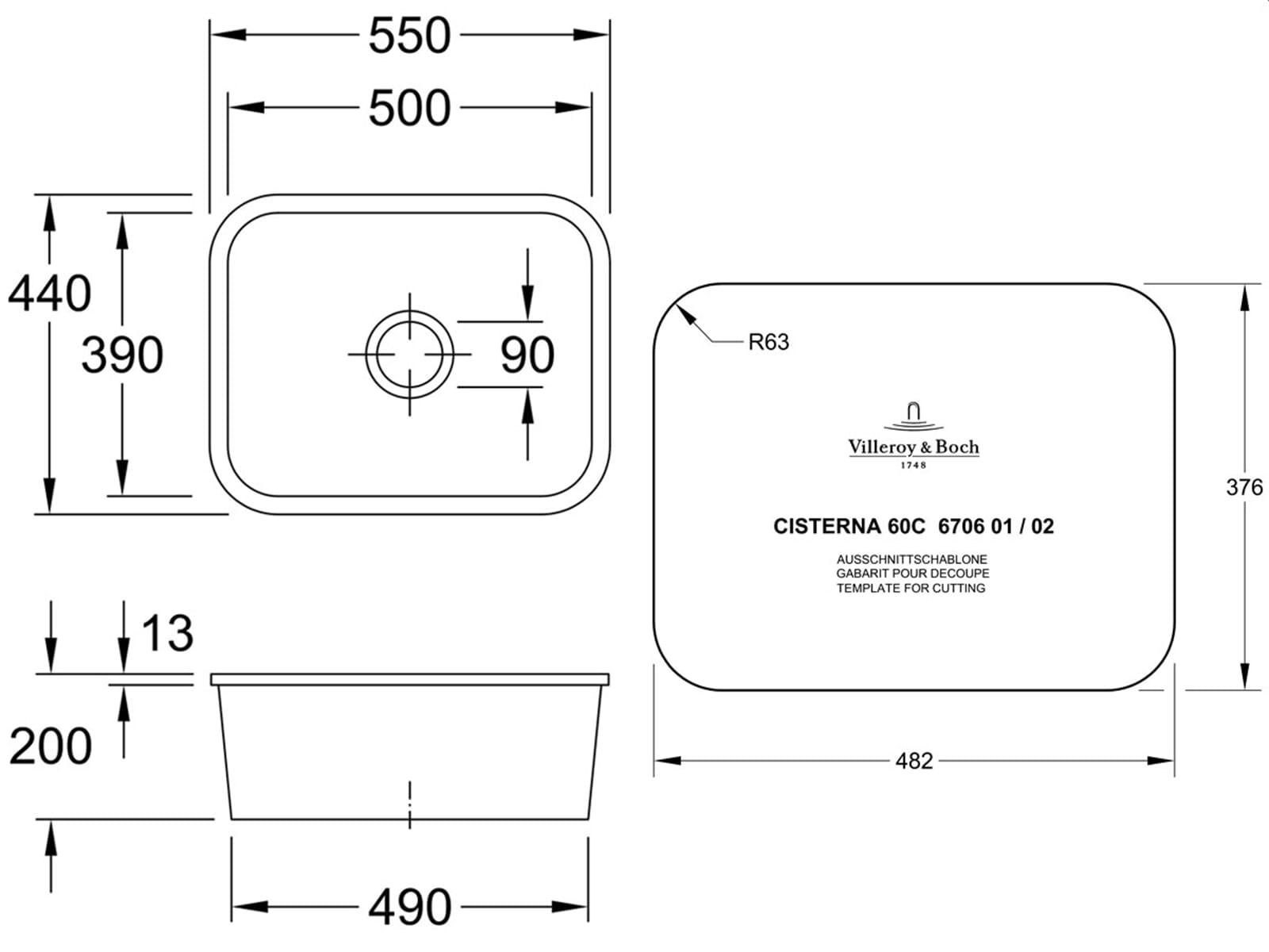 Villeroy & Boch Cisterna 60C Timber - 6706 02 TR Keramikspüle Exzenterbetätigung