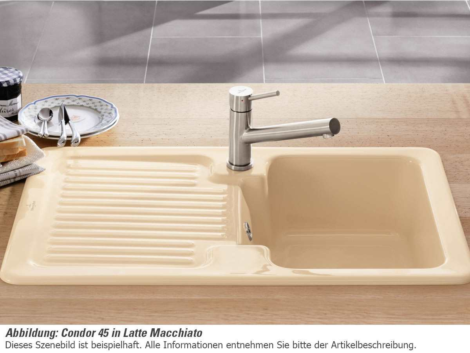 Villeroy & Boch Condor 45 Stone - 6745 01 SL Keramikspüle Handbetätigung