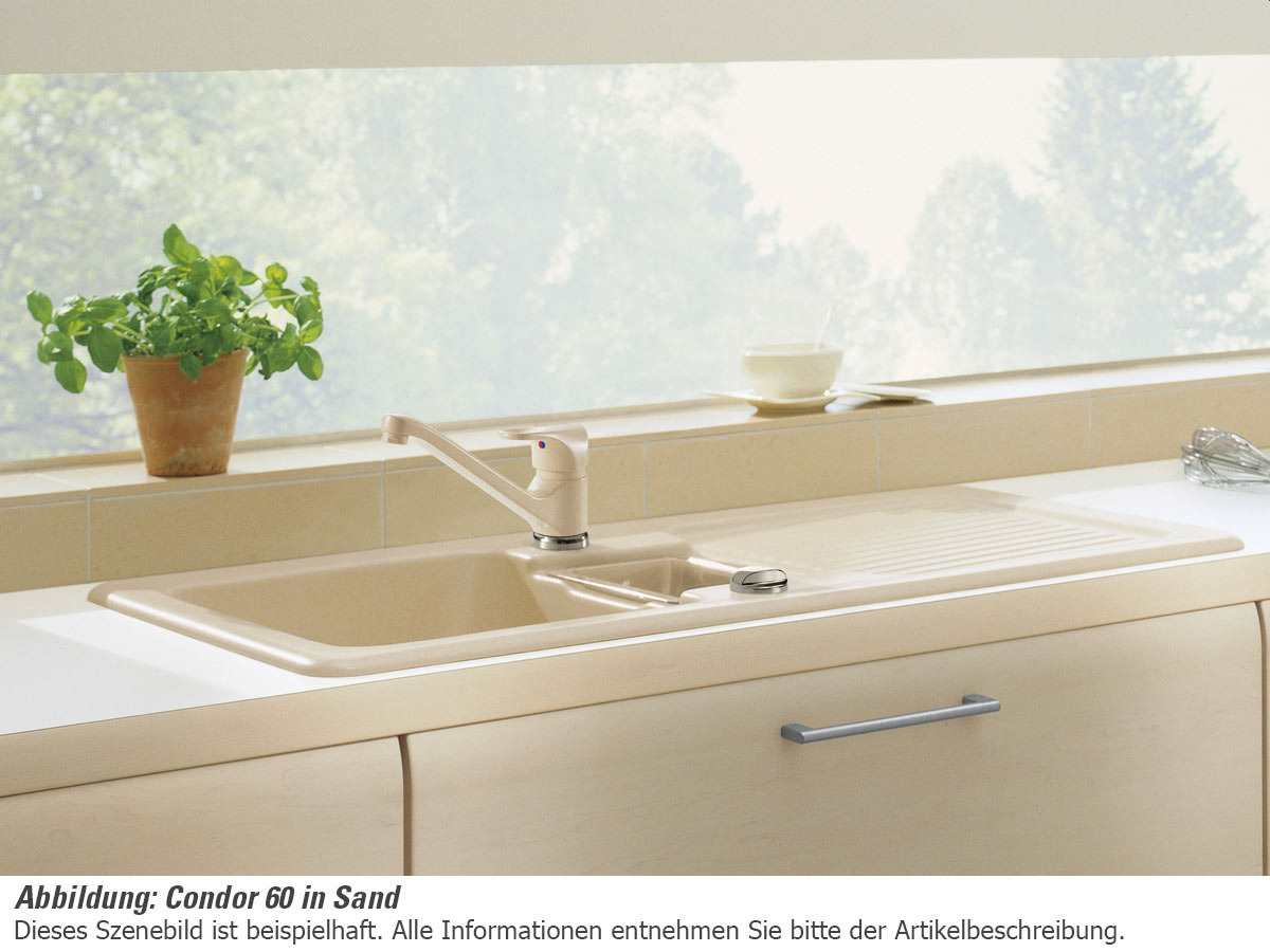 Villeroy & Boch Condor 60 Almond - 6759 02 AM Keramikspüle Exzenterbetätigung