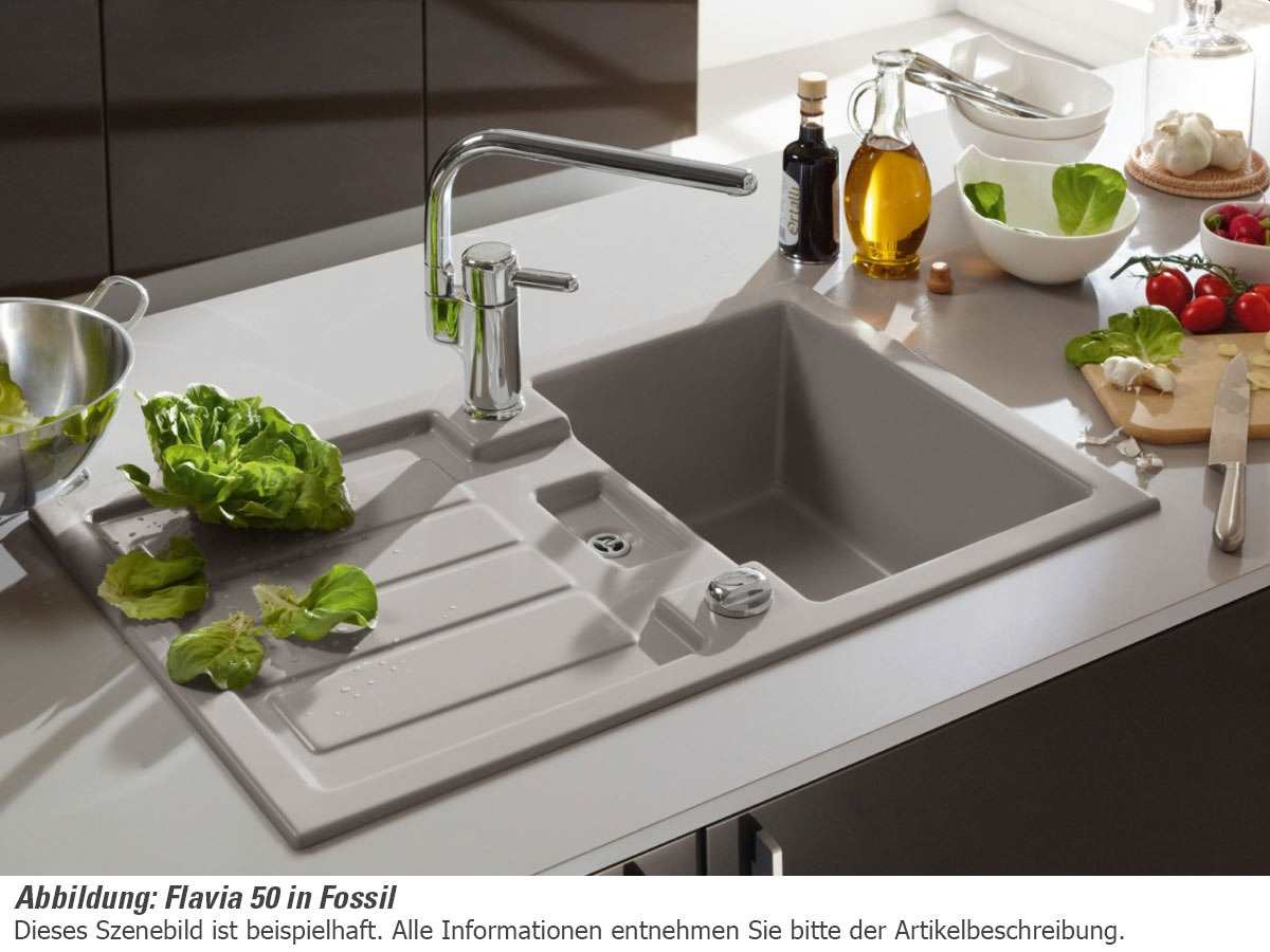 Villeroy & Boch Flavia 50 Ebony - 3305 02 S5 Keramikspüle Exzenterbetätigung