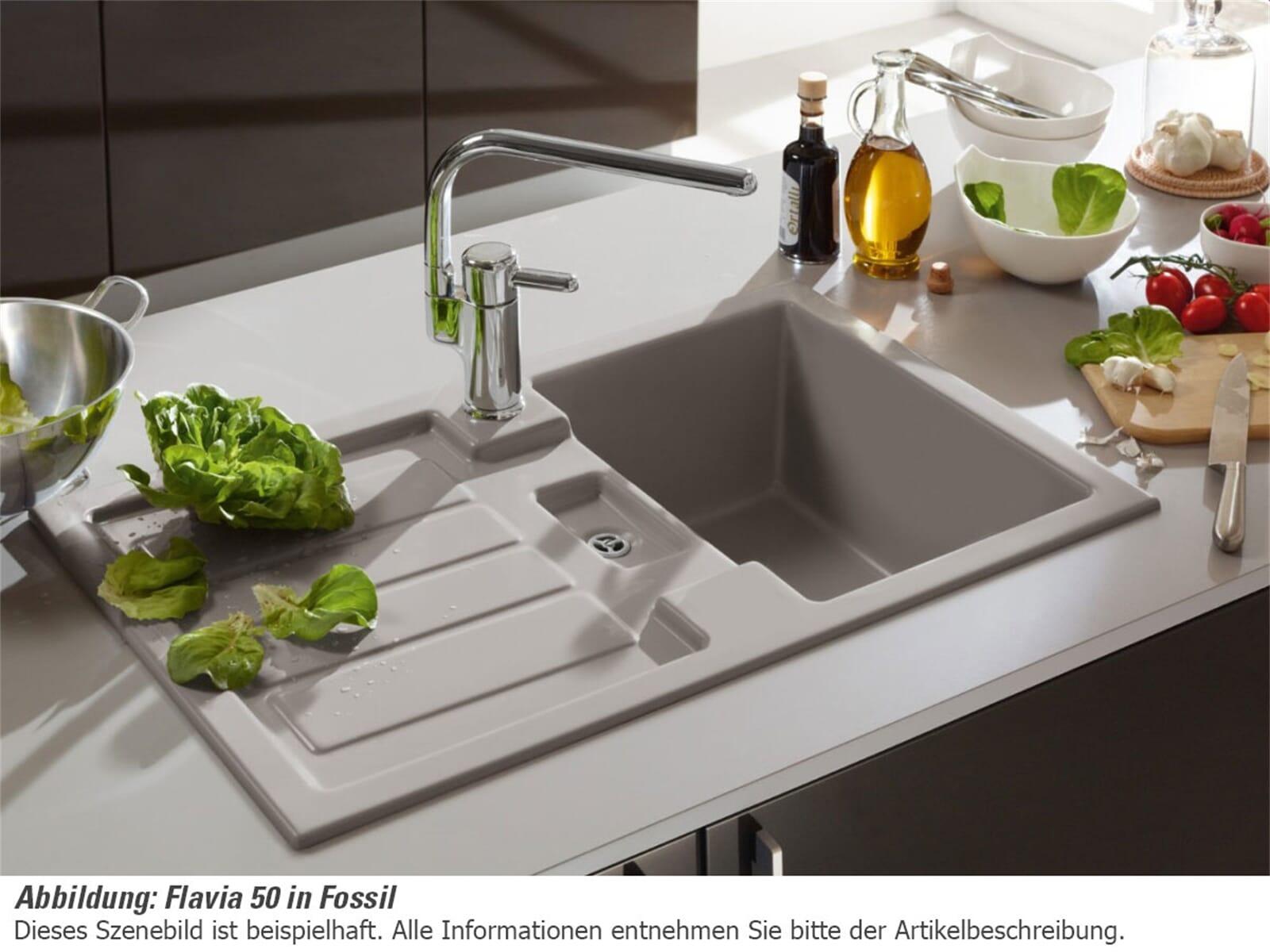 Villeroy & Boch Flavia 50 Ebony - 3305 01 S5 Keramikspüle ... | {Spülbecken keramik villeroy & boch 64}