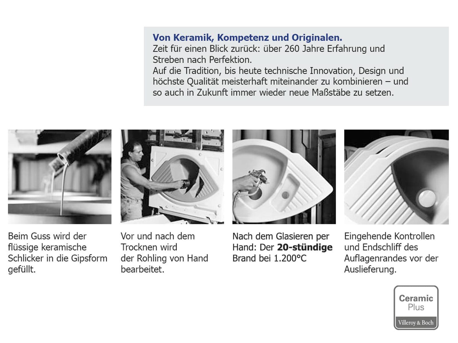 Villeroy & Boch Flavia 60 Edelweiss - 3304 01 S3 Keramikspüle Handbetätigung