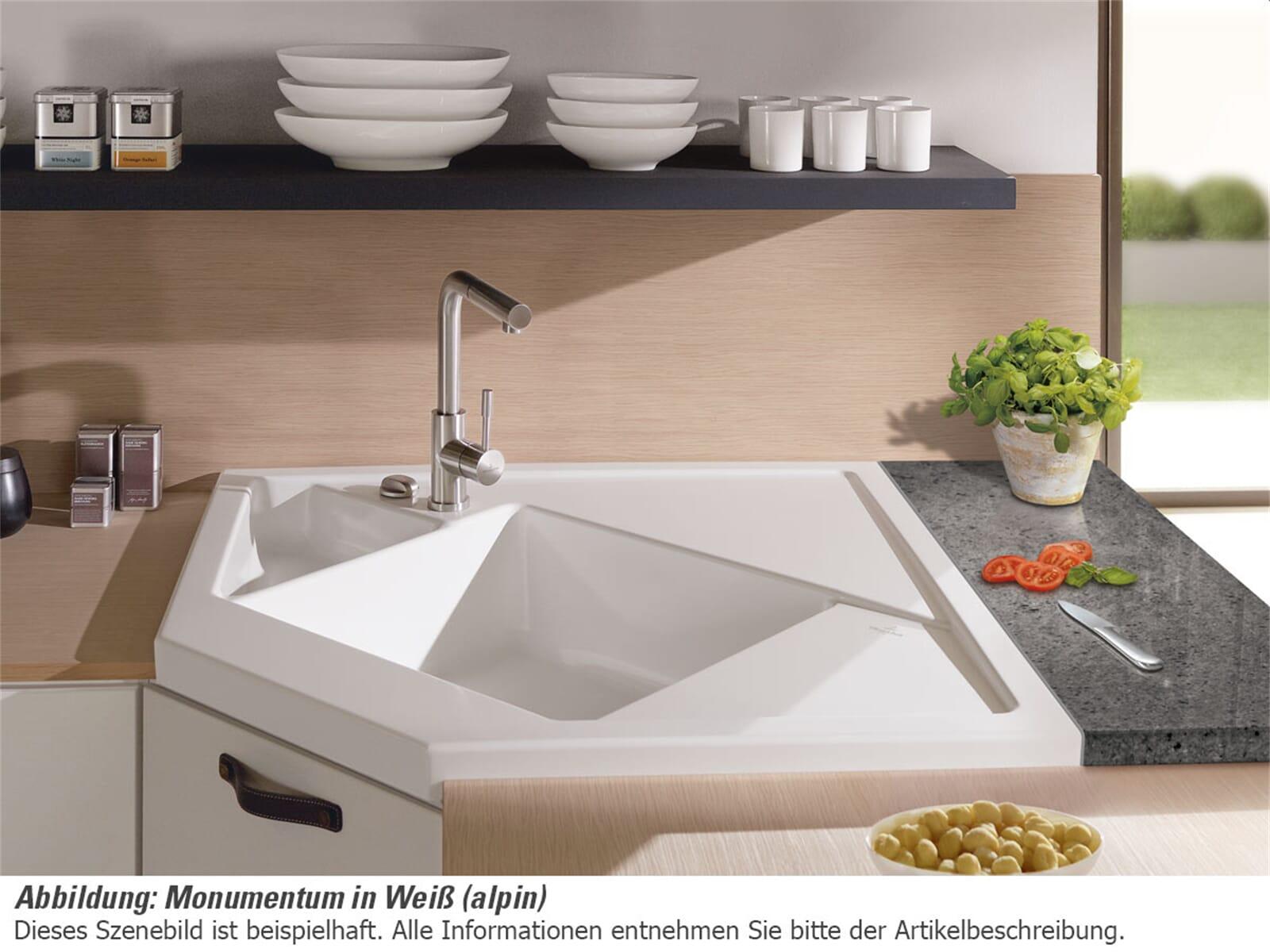 Villeroy & Boch Monumentum Weiß (alpin) - 3303 02 R1 Keramikspüle Exzenterbetätigung