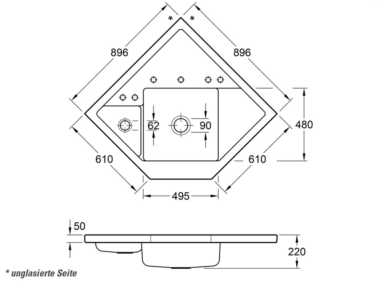 Villeroy & Boch Monumentum Steam - 3303 02 SM Keramikspüle Exzenterbetätigung