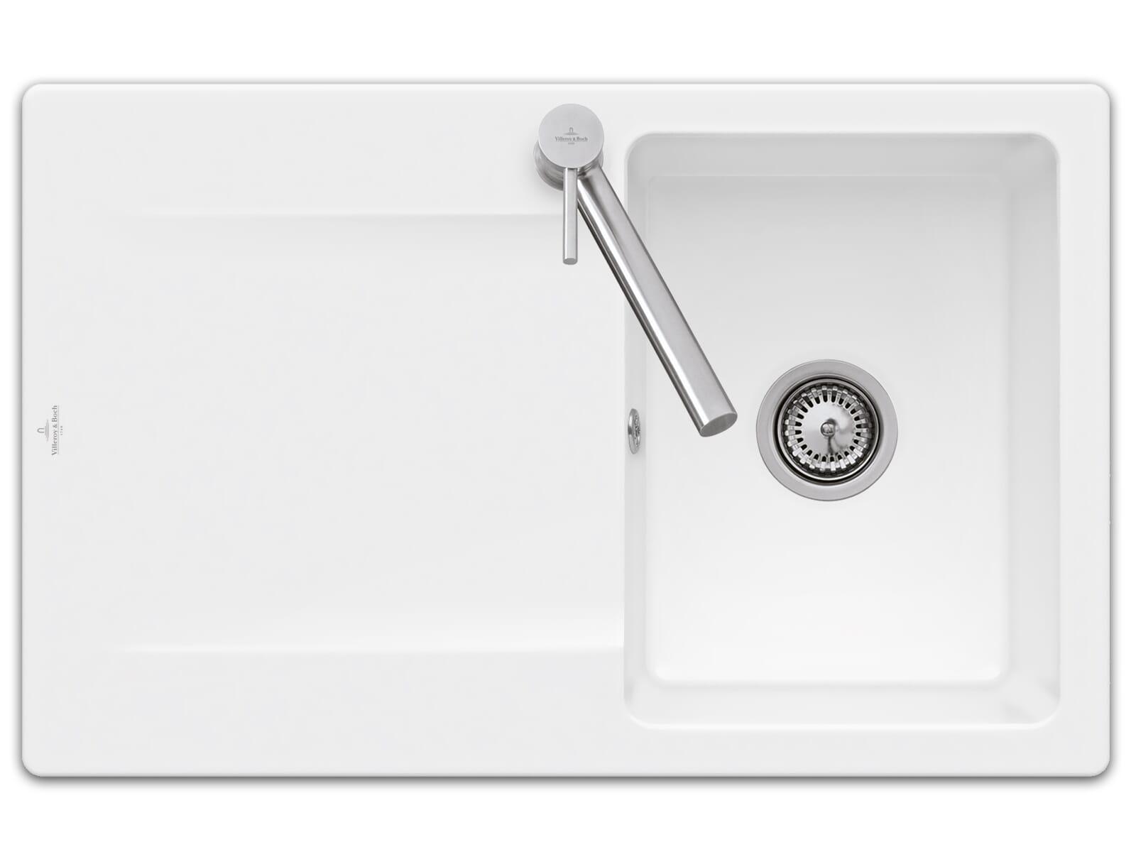 Villeroy & Boch Siluet 45 - 3334 01 RW Stone White Keramikspüle Handbetätigung