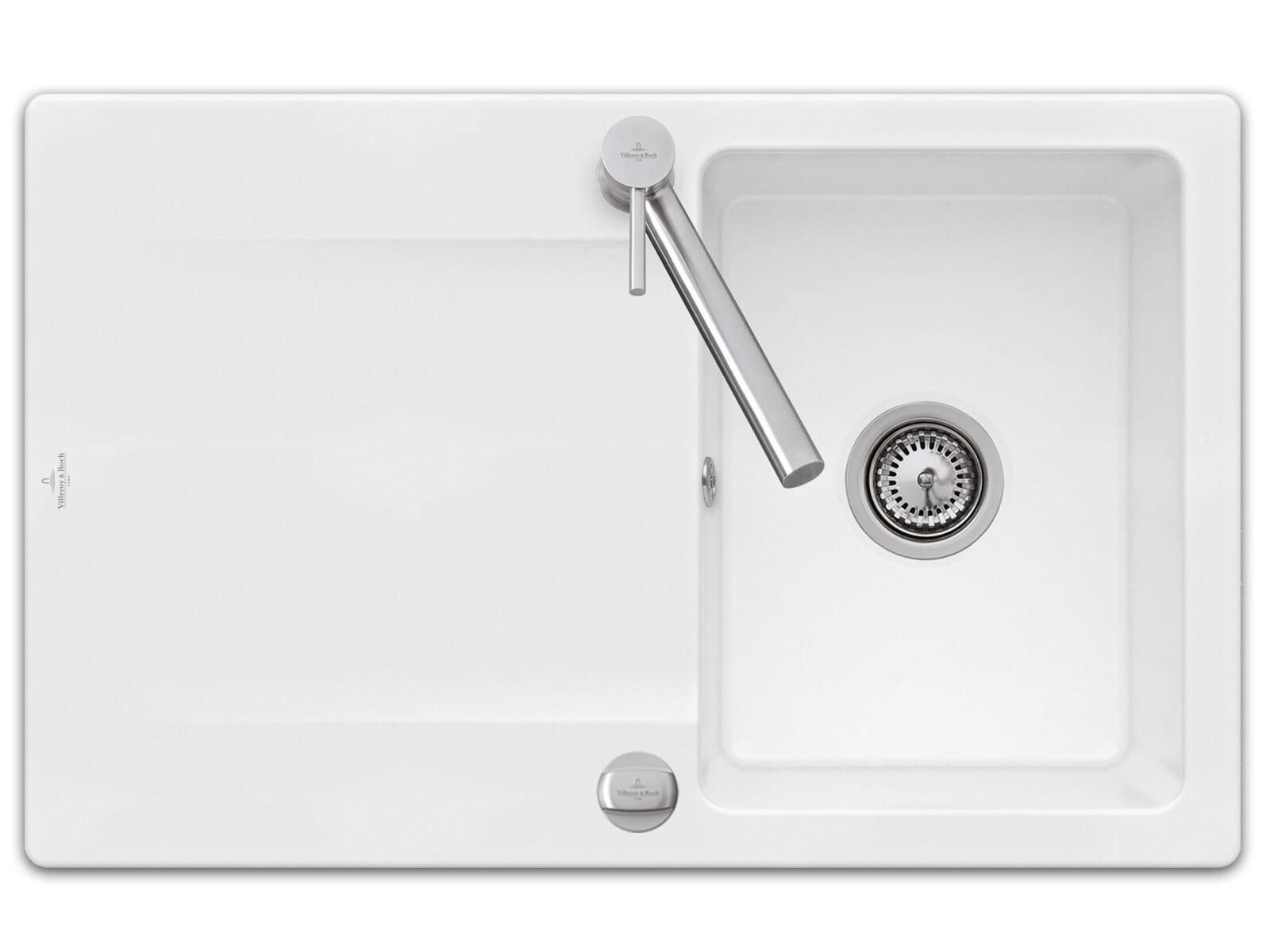 Villeroy & Boch Siluet 45 - 3334 02 R1 Weiß (alpin) Keramikspüle Excenterbetätigung
