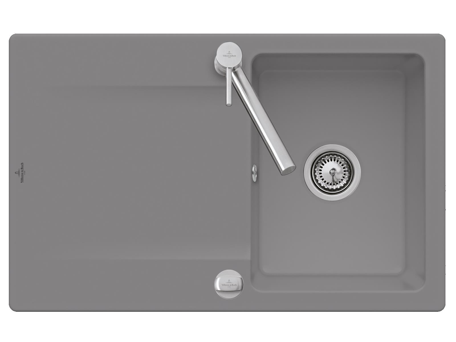 Villeroy & Boch Siluet 45 - 3334 02 SL Stone Keramikspüle Excenterbetätigung