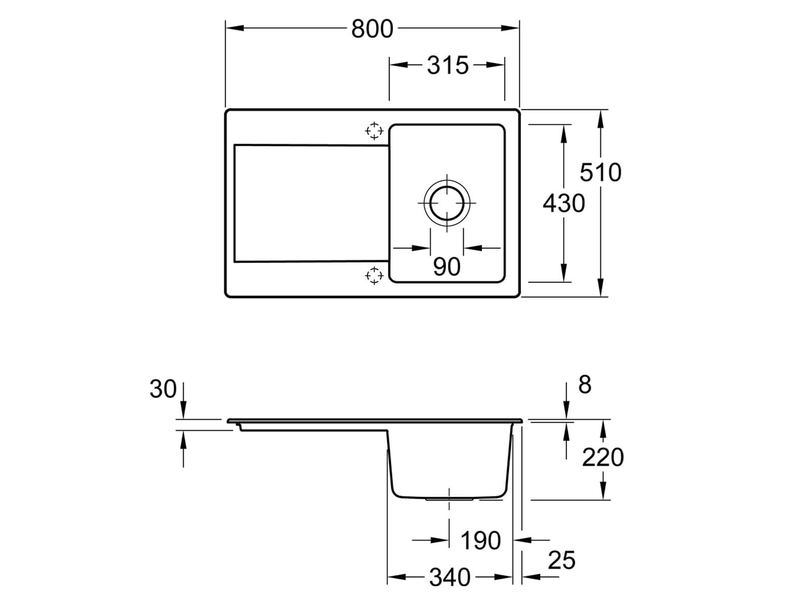 Villeroy & Boch Siluet 45 - 3334 01 S5 Ebony Keramikspüle Handbetätigung
