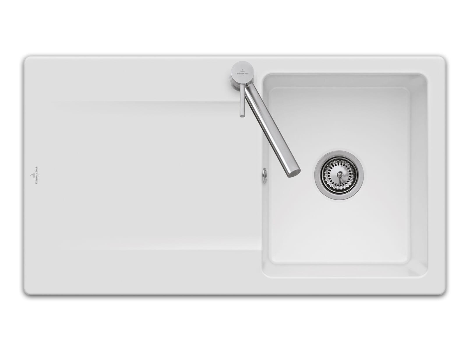Villeroy & Boch Siluet 50 - 3335 01 KG Snow White Keramikspüle Handbetätigung