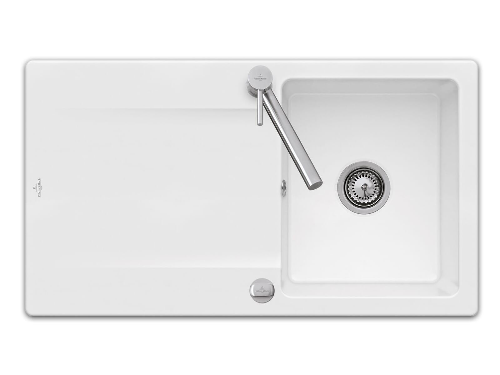 Villeroy & Boch Siluet 50 - 3335 02 R1 Weiß (alpin) Keramikspüle Excenterbetätigung