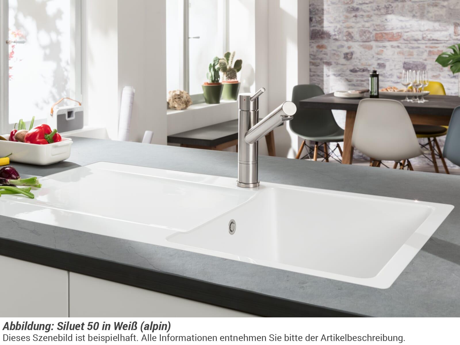 Villeroy & Boch Siluet 50 - 3335 01 AM Almond Keramikspüle Handbetätigung