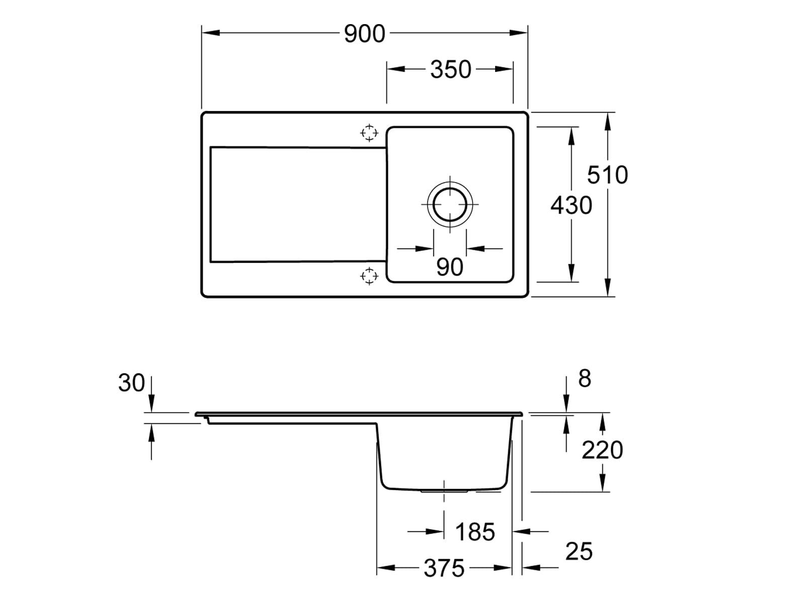 Villeroy & Boch Siluet 50 - 3335 02 TR Timber Keramikspüle Excenterbetätigung