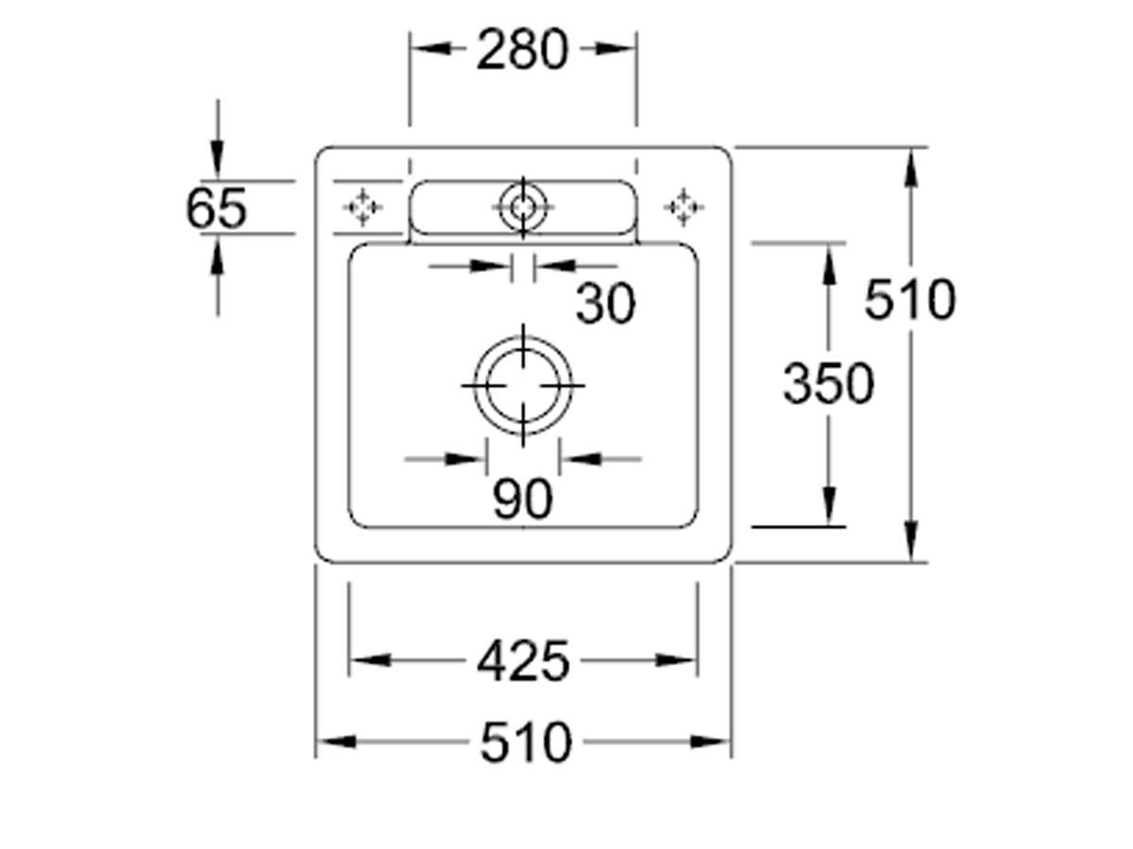 Villeroy & Boch Siluet 50 S Ivory – 3345 02 FU Keramikspüle Exzenterbetätigung