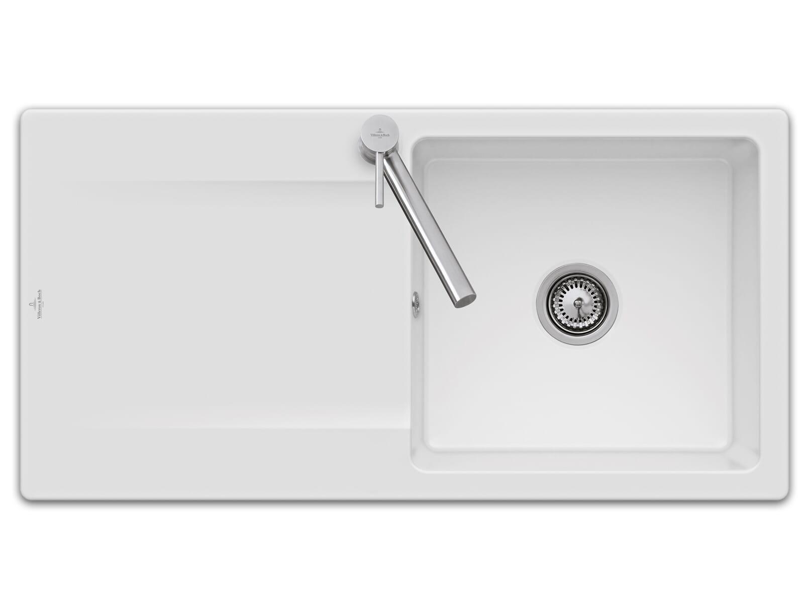 Villeroy & Boch Siluet 60 - 3336 01 KG Snow White Keramikspüle Handbetätigung