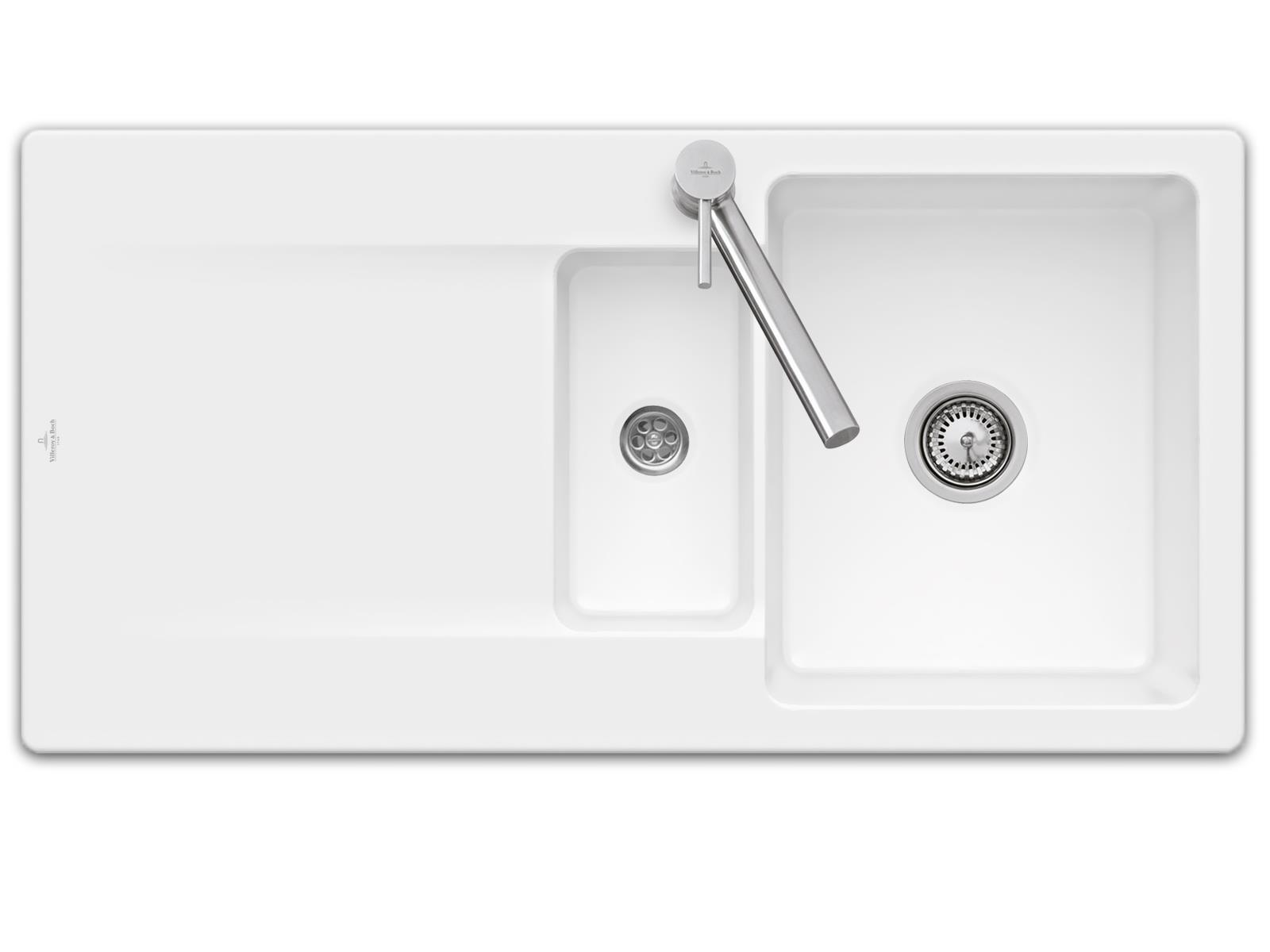 Villeroy & Boch Siluet 60 R - 3337 01 RW Stone White Keramikspüle Handbetätigung
