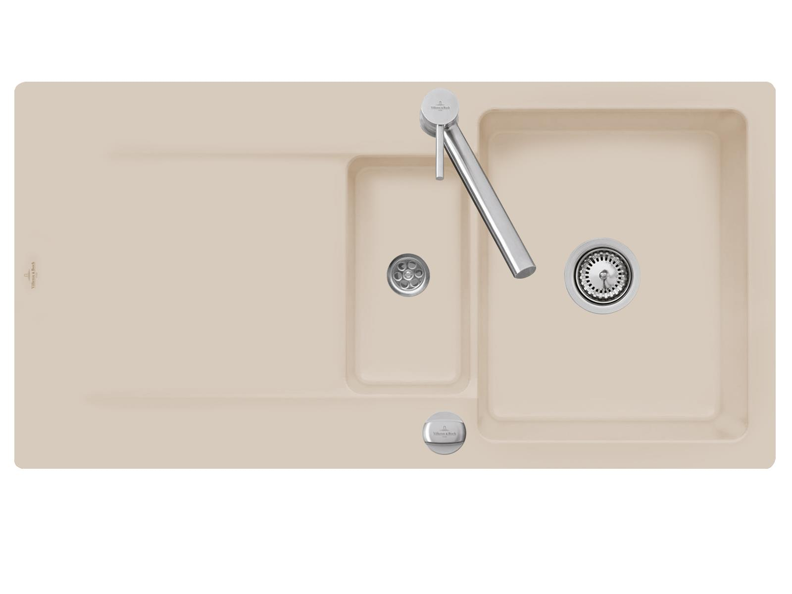 Villeroy & Boch Siluet 60 R - 3337 02 AM Almond Keramikspüle Exzenterbetätigung
