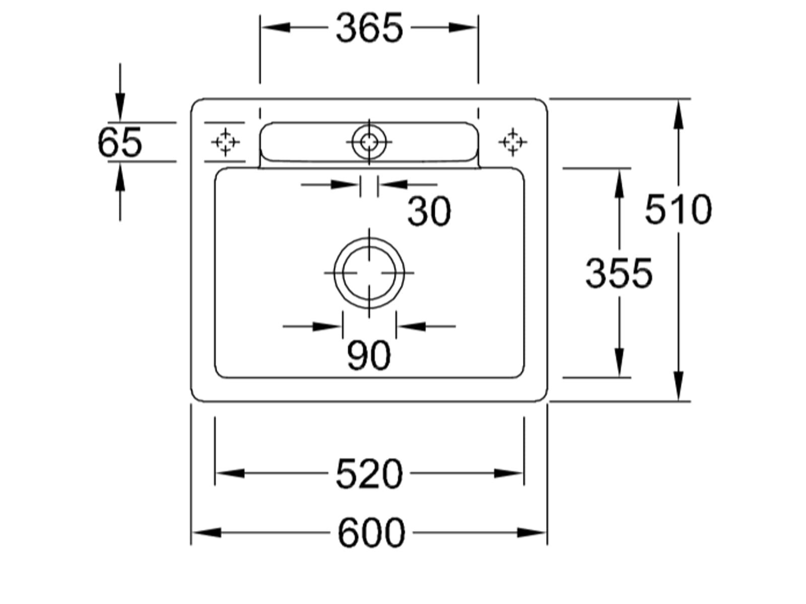 Villeroy & Boch Siluet 60 S Timber – 3346 01 TR Keramikspüle Handbetätigung