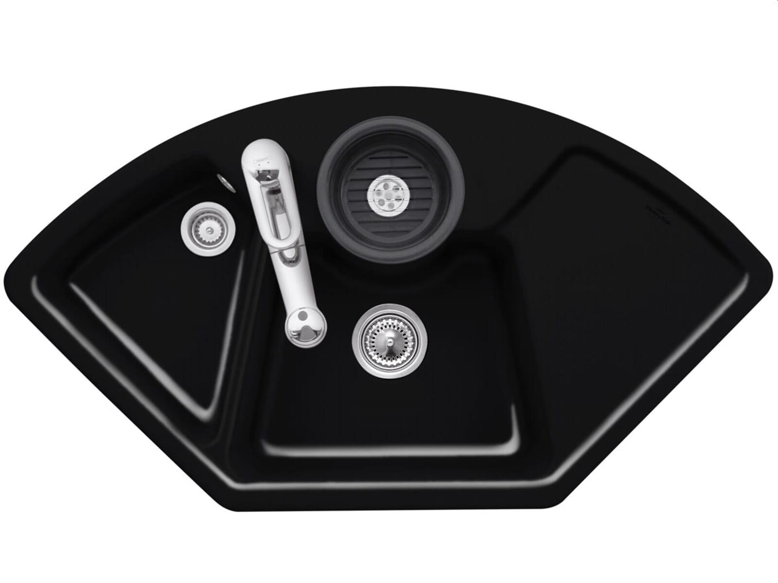 Villeroy & Boch Solo Eck Chromit - 6708 01 J0 Keramikspüle Handbetätigung