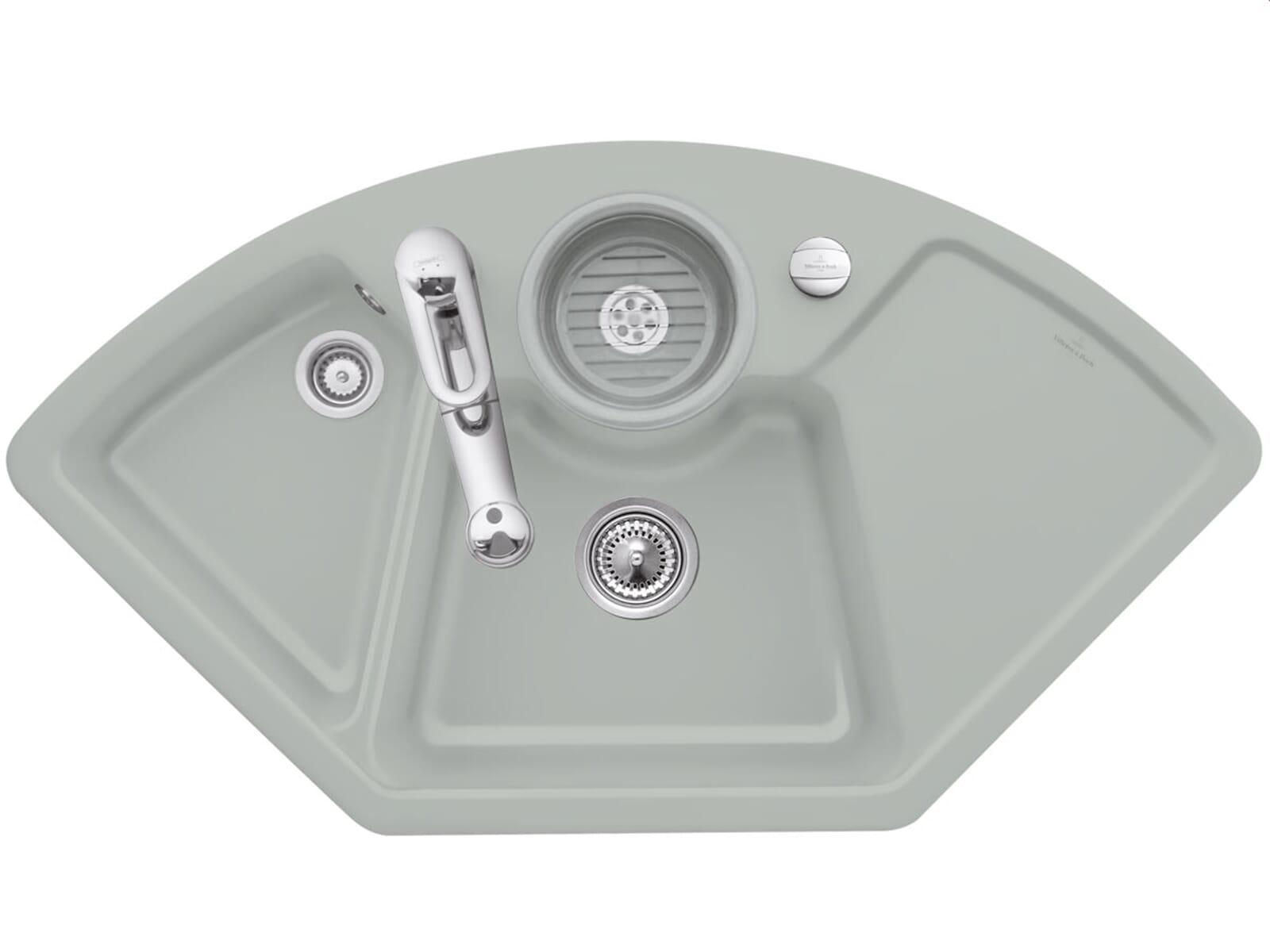 Villeroy & Boch Solo Eck Fossil - 6708 02 KD Keramikspüle Exzenterbetätigung