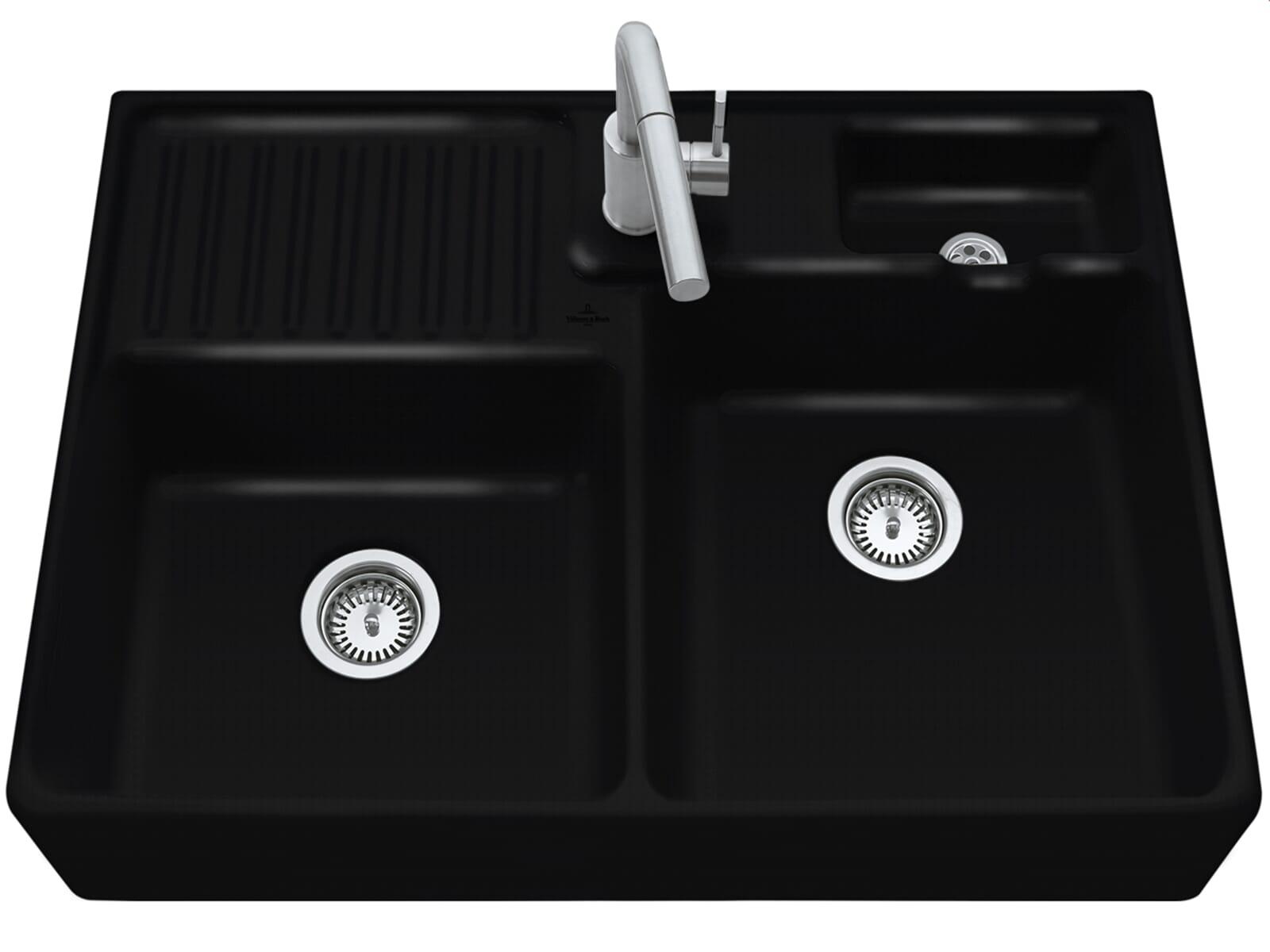 villeroy boch sp lstein doppelbecken chromit 6323 91 j0 keramiksp le. Black Bedroom Furniture Sets. Home Design Ideas