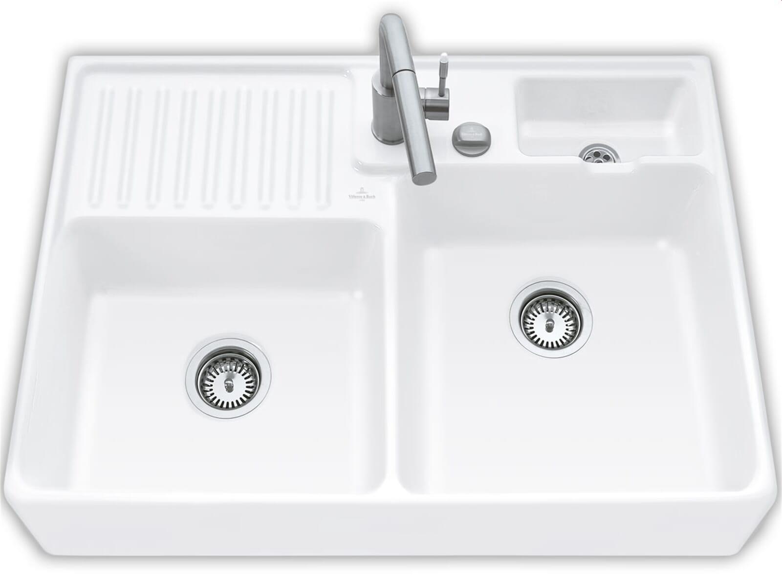 Villeroy & Boch Spülstein Doppelbecken Snow White - 6323 92 KG Keramikspüle Excenter inkl. Hahnlöcher 1+2
