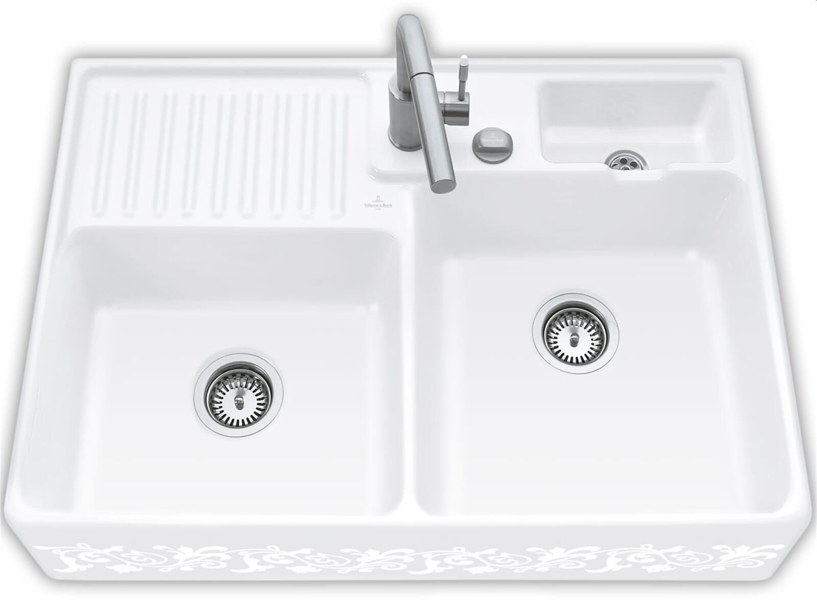 Villeroy & Boch Spülstein Doppelbecken White Pearl - 6323 92 KT Keramikspüle Excenter inkl. Hahnlöcher 1+2
