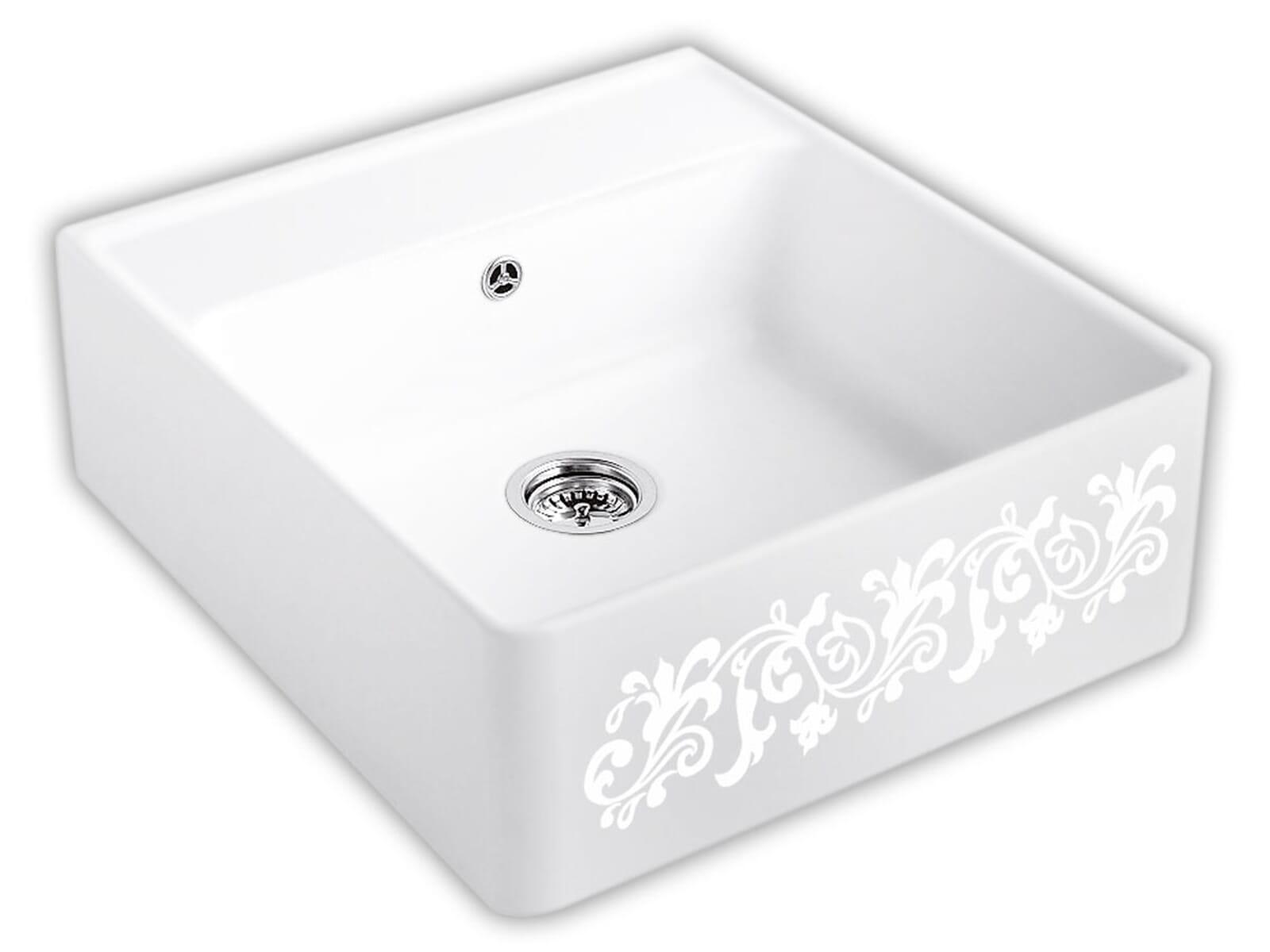 Villeroy & Boch Spülstein Einzelbecken White Pearl - 6320 61 KT Keramikspüle Handbetätigung inkl. Hahnloch 2