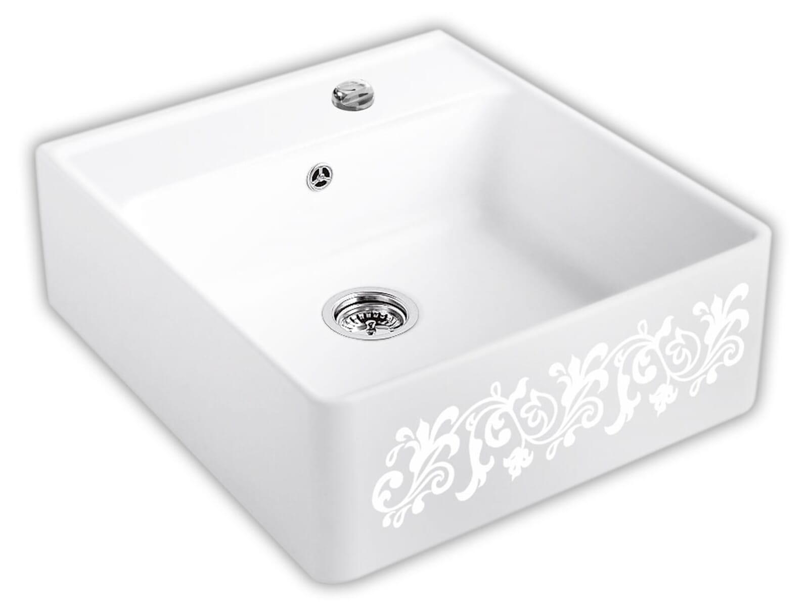 Villeroy & Boch Spülstein Einzelbecken White Pearl - 6320 62 KT Keramikspüle Excenter inkl. Hahnlöcher 2+3