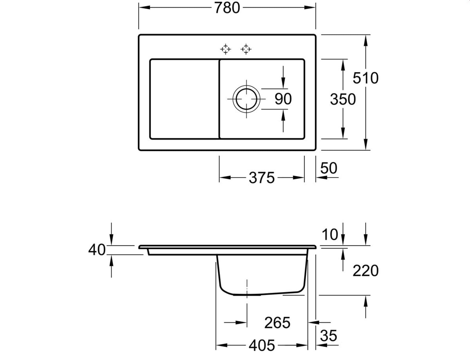 Villeroy & Boch Subway 45 Graphit - 6714 01 i4 Keramikspüle Handbetätigung