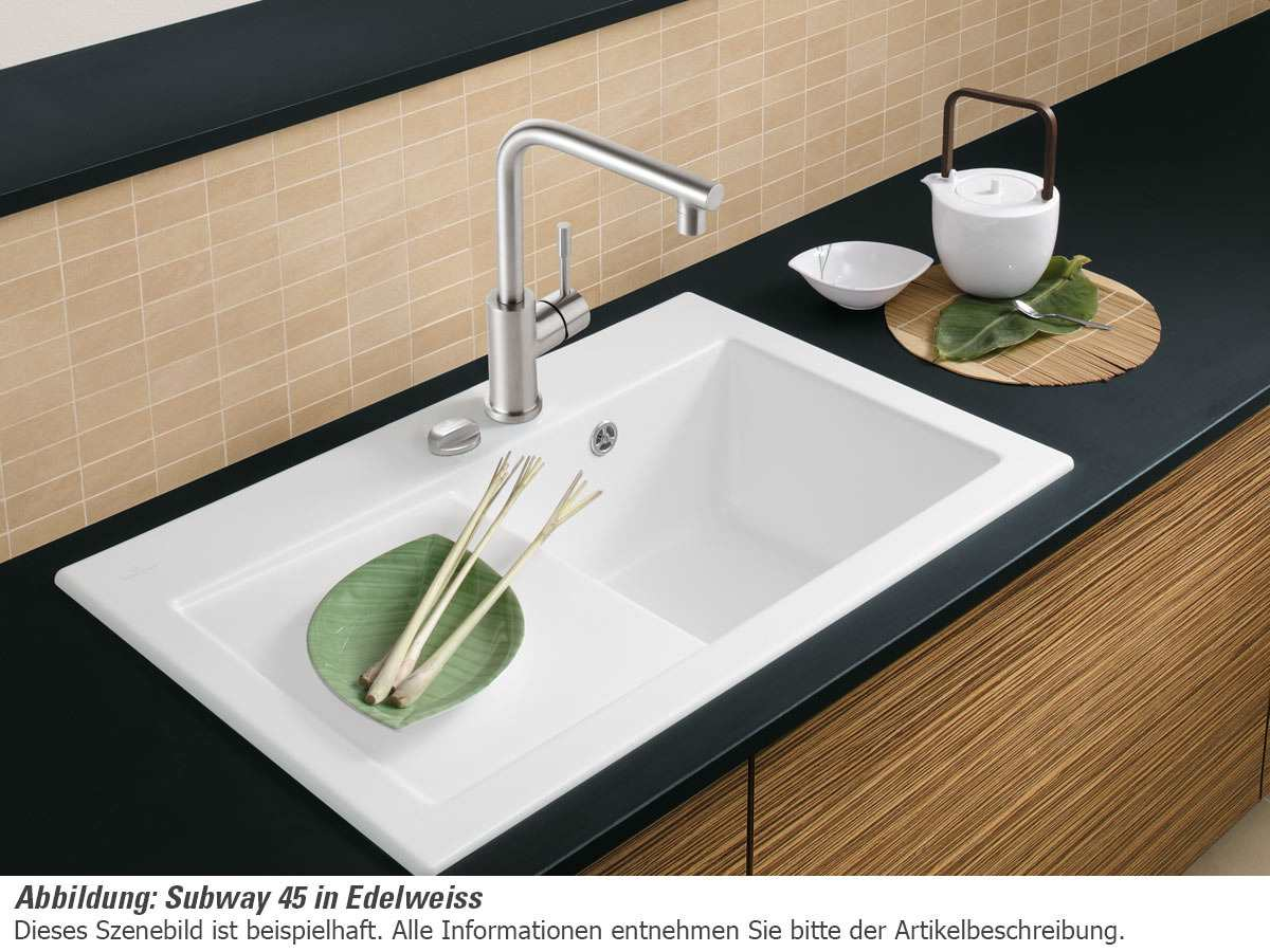 Villeroy & Boch Subway 45 Edelweiss - 6714 02 S3 Keramikspüle Exzenterbetätigung