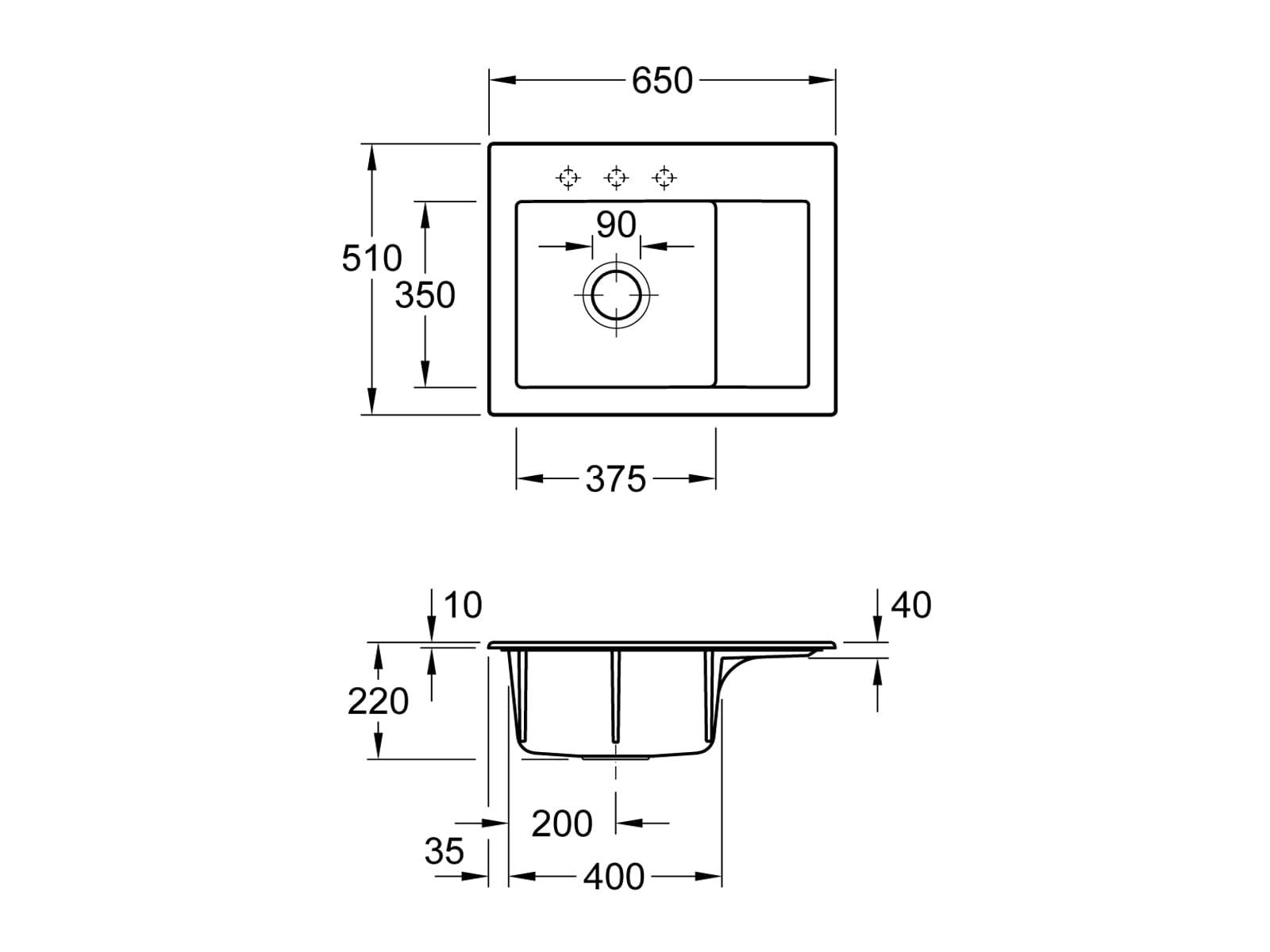 Villeroy & Boch Subway 45 Compact - 3312 02 SL Stone Keramikspüle Excenterbetätigung
