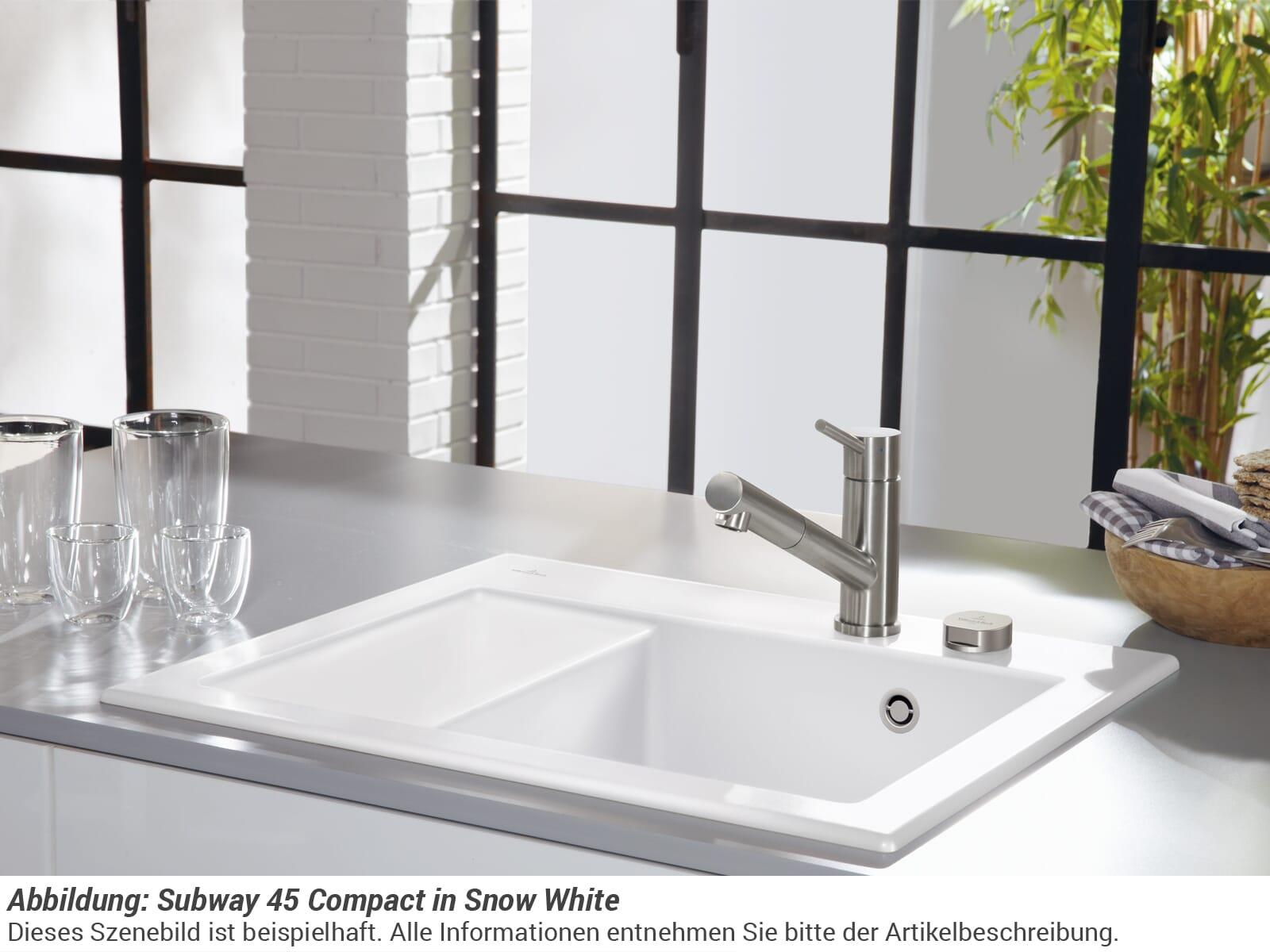 Villeroy & Boch Subway 45 Compact - 3313 02 KG Snow White Keramikspüle Excenterbetätigung