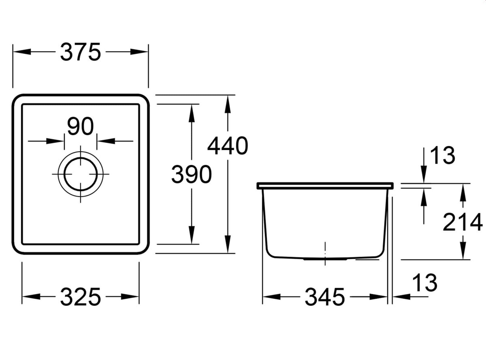 Villeroy & Boch Subway 45 SU - 3324 01 SL Stone Keramikspüle Handbetätigung