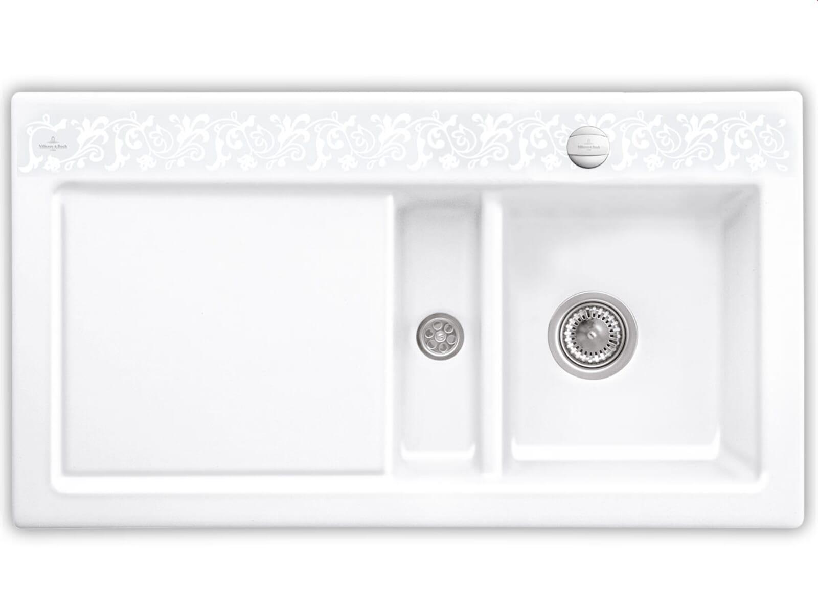 Villeroy & Boch Subway 50 White Pearl - 6713 02 KT Keramikspüle Exzenterbetätigung