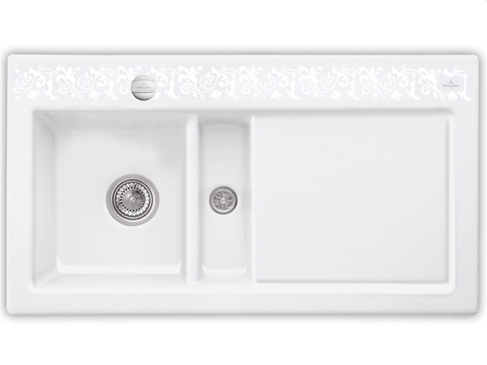 Villeroy & Boch Subway 50 White Pearl - 6773 02 KT Keramikspüle Exzenterbetätigung