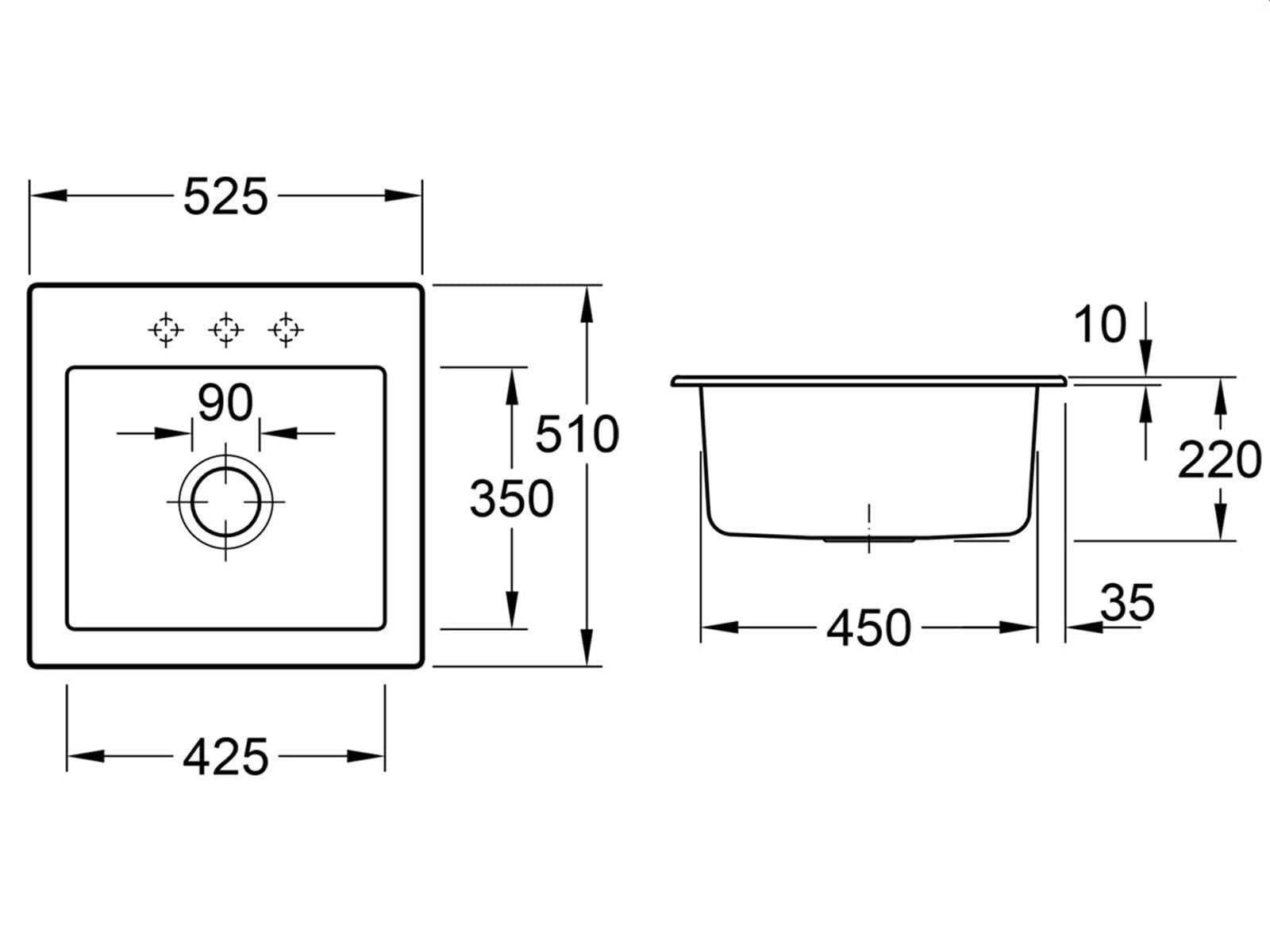 Villeroy & Boch Subway 50 S Almond - 3315 01 AM Keramikspüle Handbetätigung