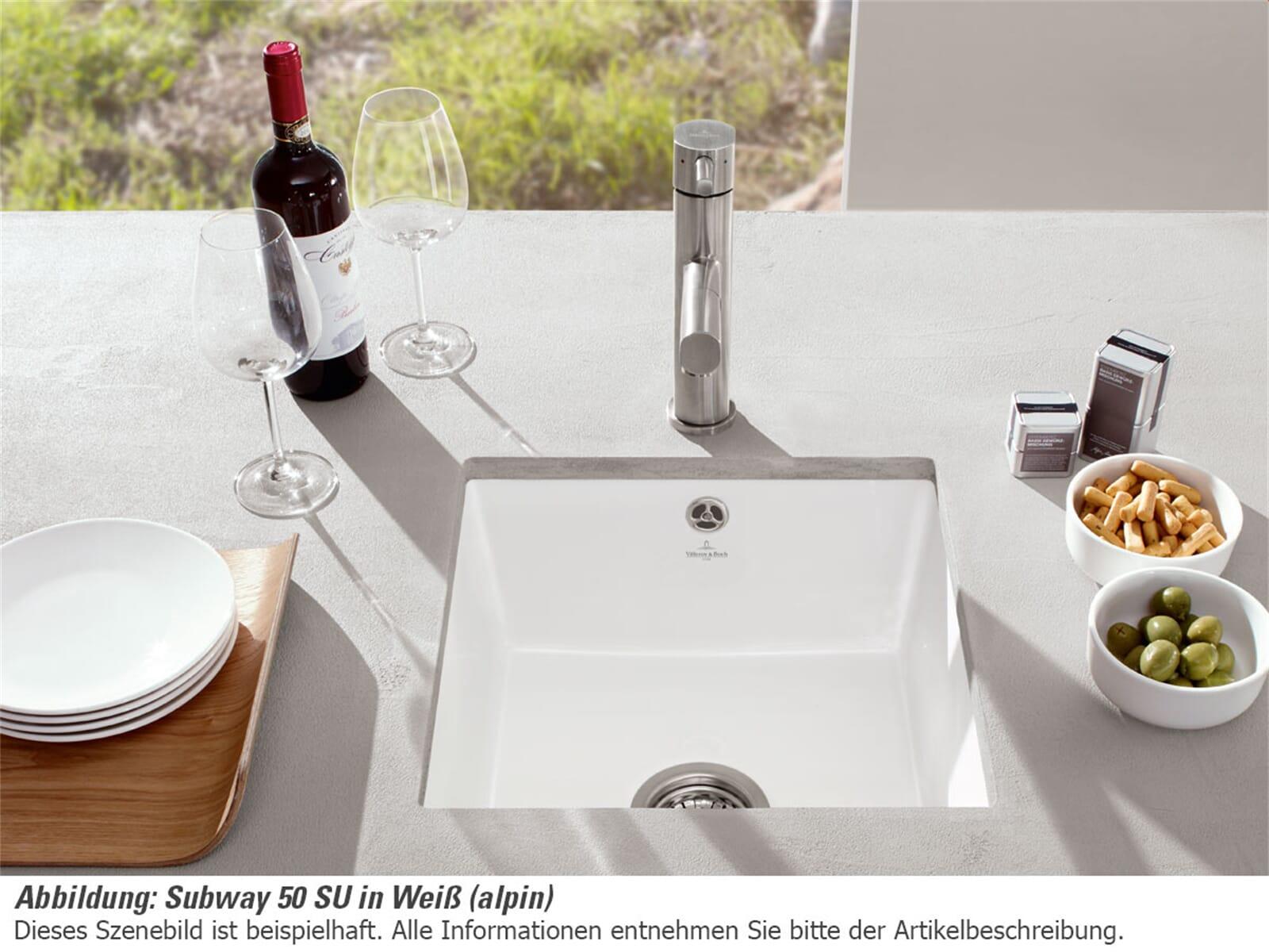 Villeroy & Boch Subway 50 SU Weiß (alpin) - 3325 01 R1 Keramikspüle Handbetätigung