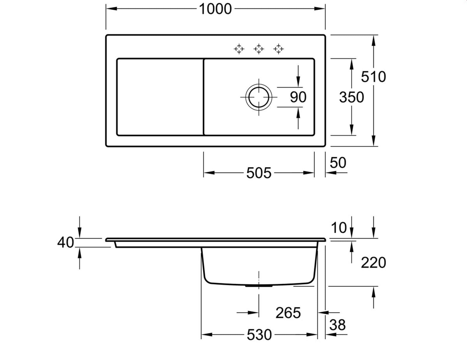 Villeroy & Boch Subway 60 XL Edelweiss - 6719 02 S3 Keramikspüle Exzenterbetätigung